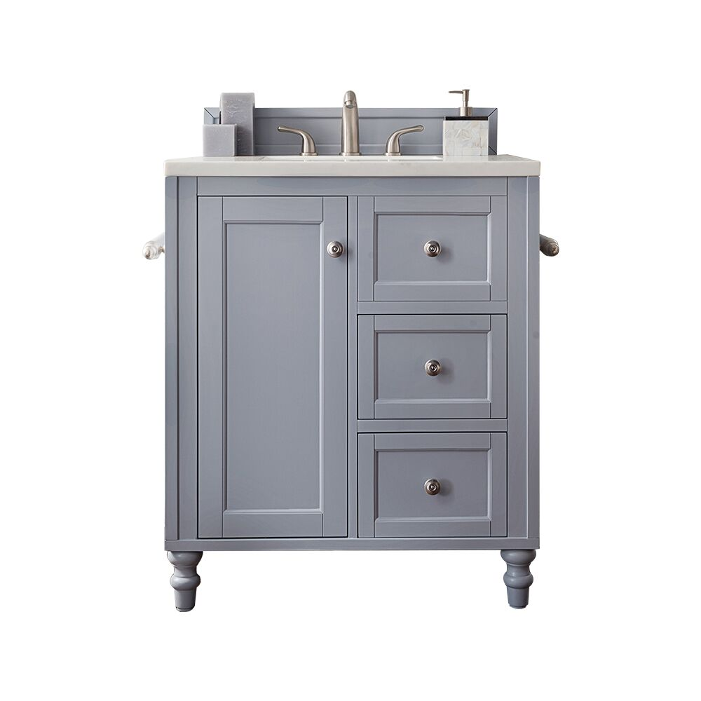 "Issac Edwards Collection 30"" Single Vanity, Silver Grey, top options"