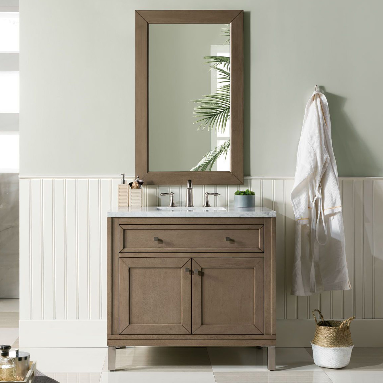 "Chicago 36"" White Washed Walnut Single Vanity with Top Options"