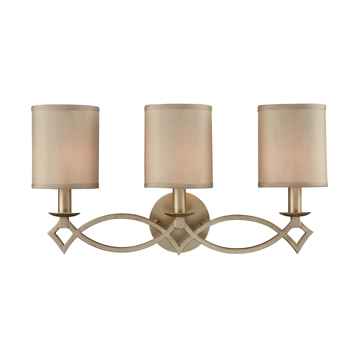 Estonia 3 Light Vanity in Aged Silver with Beige Half-Shades