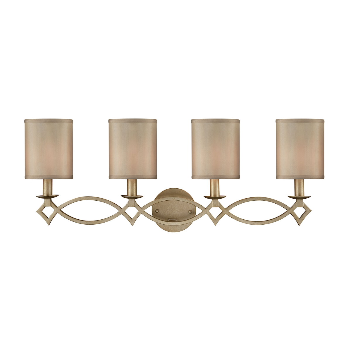 Estonia 4 Light Vanity in Aged Silver with Beige Half-Shades