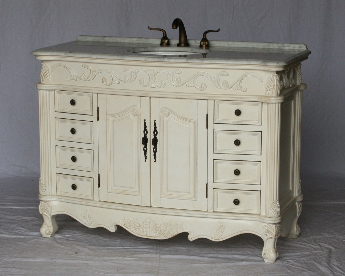 "49"" Adelina Antique Style Single Sink Bathroom Vanity in Antique White Finish with White Italian Carrara Marble Countertop"