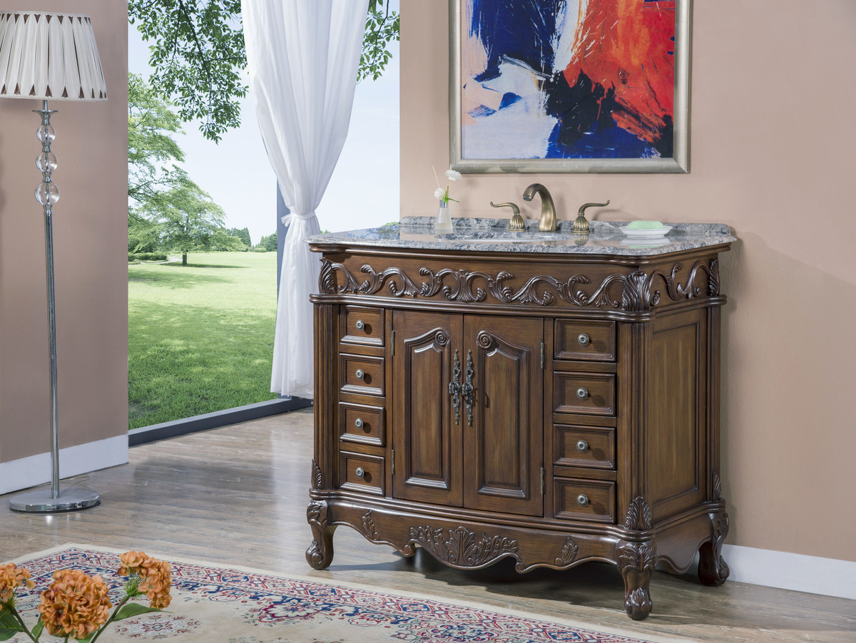 "42"" Adelina Antique Style Single Sink Bathroom Vanity in Walnut Finish with Gray Granite Countertop"