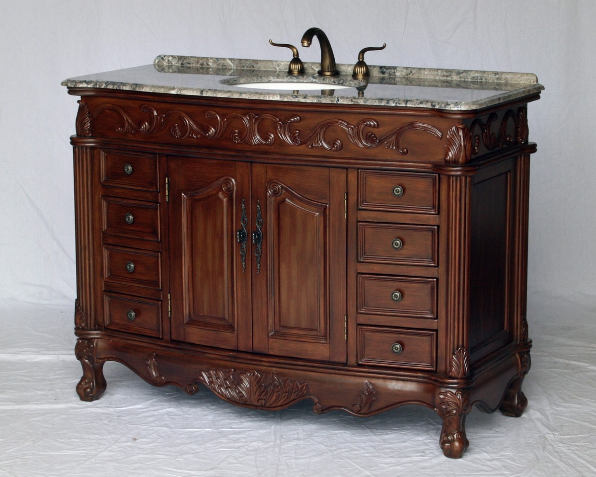 "49"" Adelina Antique Style Single Sink Bathroom Vanity in Walnut Finish with Gray Granite Countertop"