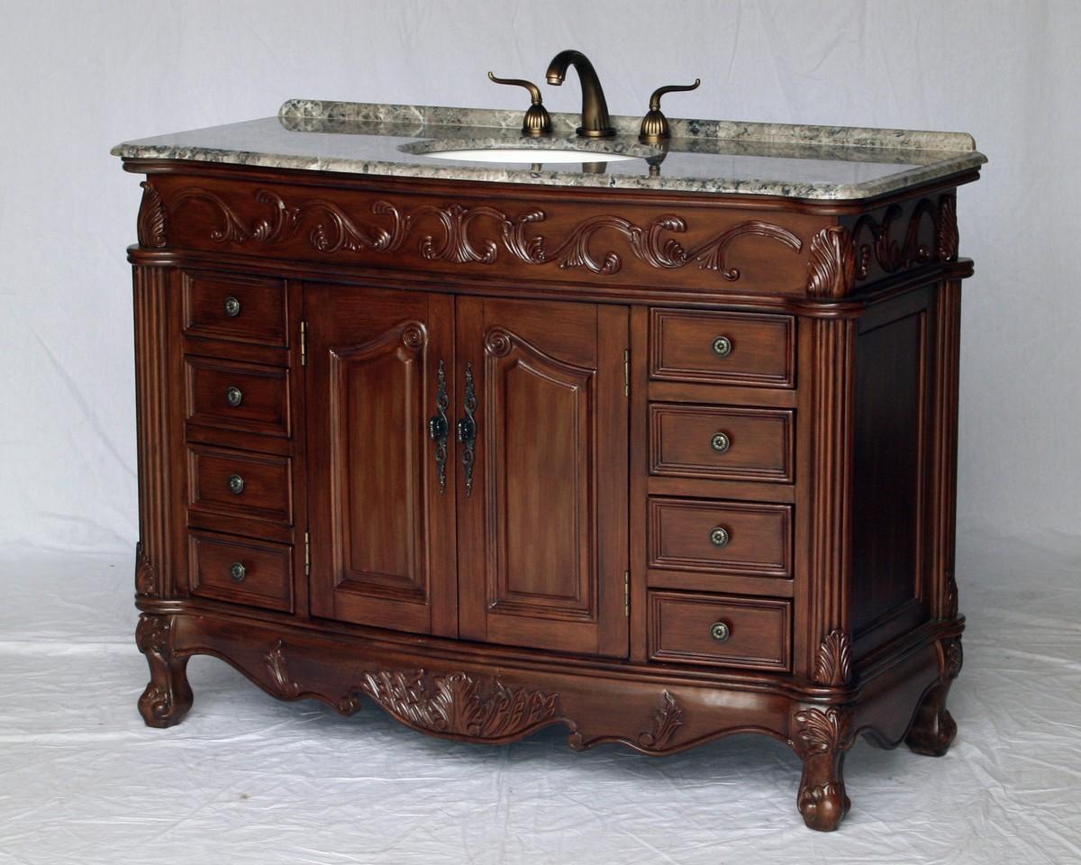 "49"" Adelina Antique Style Single Sink Bathroom Vanity in Walnut Finish with Gray Granite Countertop"