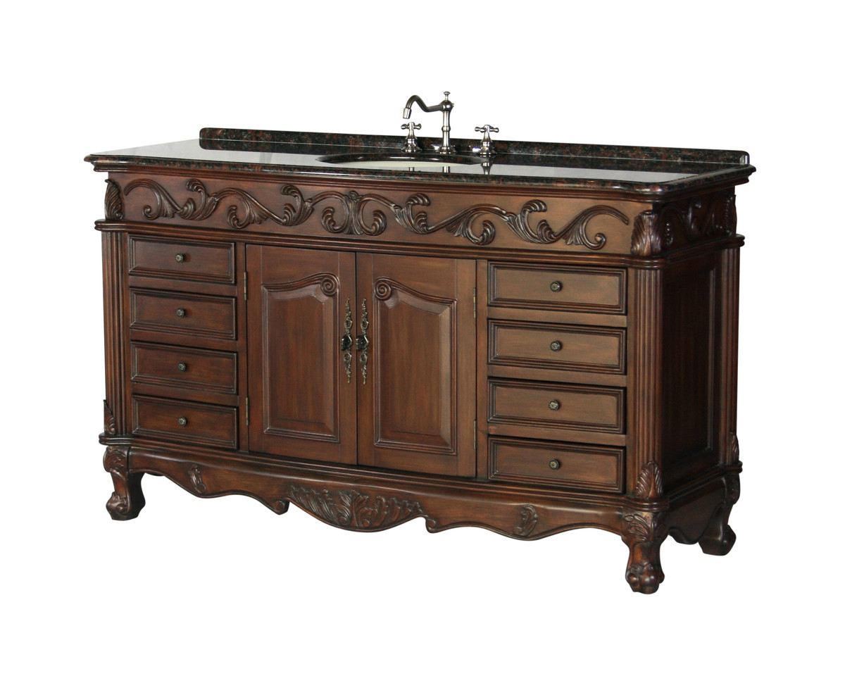 "Adelina 60"" Antique Bathroom Vanity with White Marble Top"