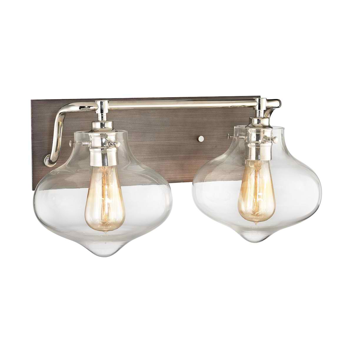 Kelsey 2 Light Vanity in Weathered Zinc with Polished Nickel Accents