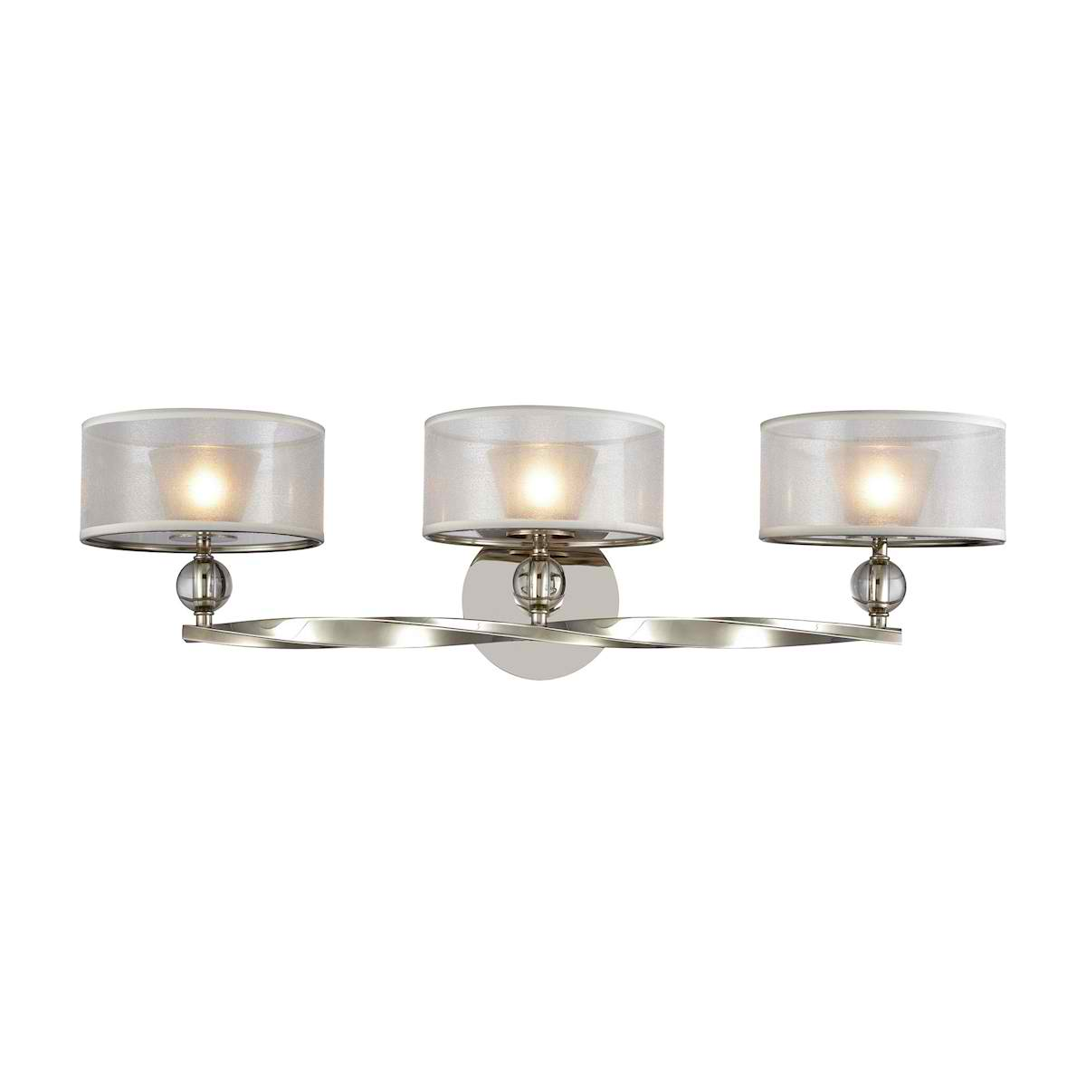 Corisande 3 Light Vanity in Polished Nickel with Silver Organza Shades