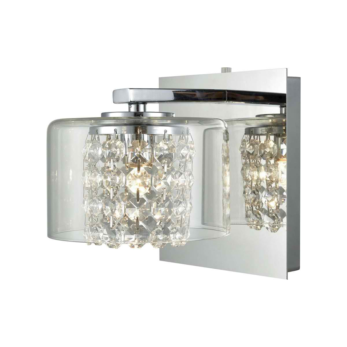 Springvale 1 Light Vanity in Polished Chrome with Clear Crystal and Glass