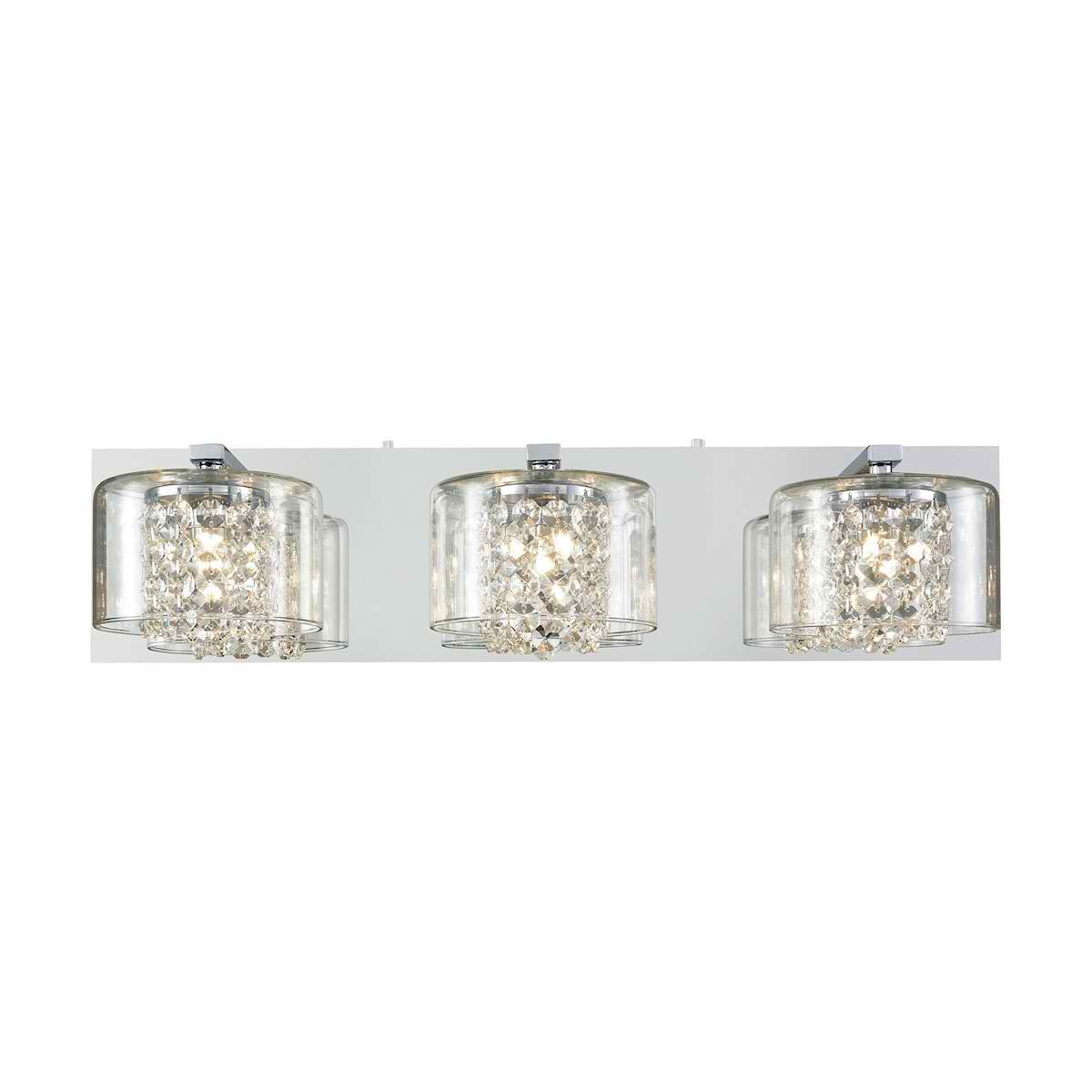 Springvale 3 Light Vanity in Polished Chrome with Clear Crystal and Glass