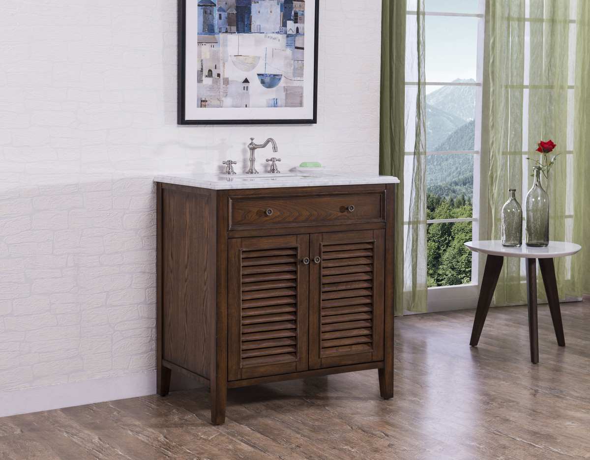"32"" Adelina Cottage Style Single Sink Bathroom Vanity in Walnut Finish with White Italian Carrara Marble Countertop"