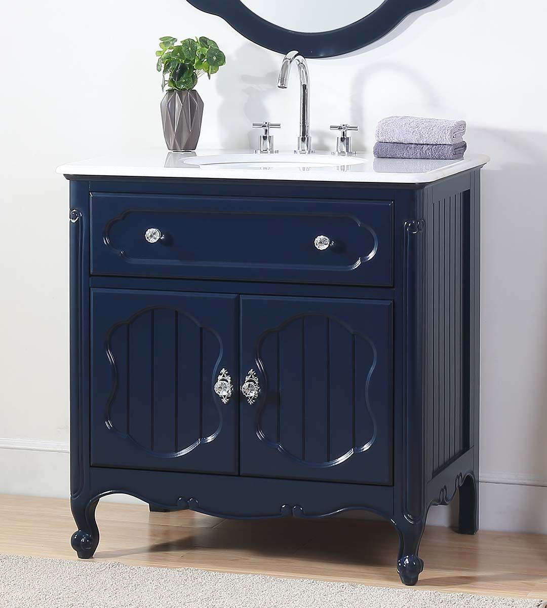 "34"" Navy Blue Bathroom Single Sink Vanity with White Marble Countertop"
