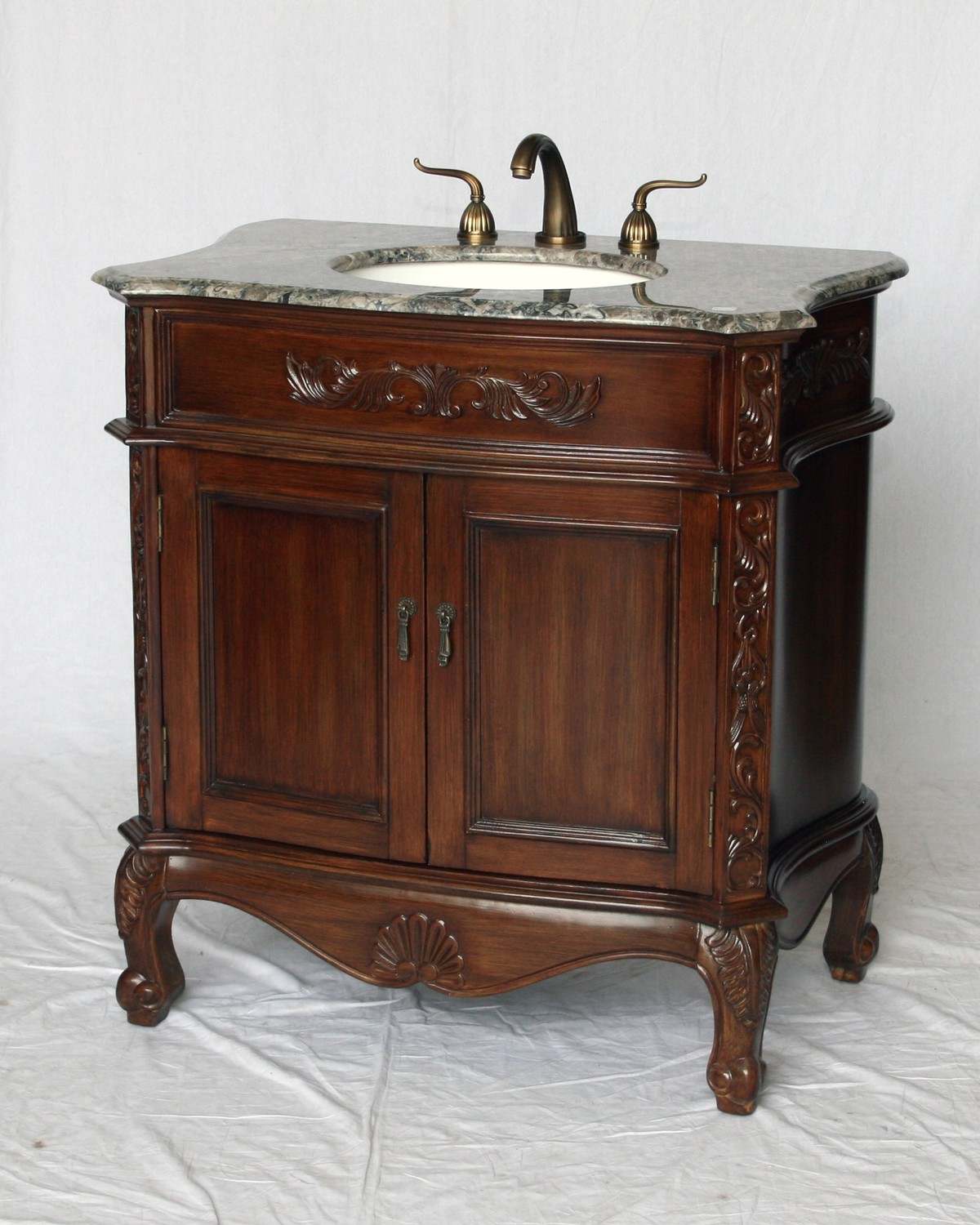 "34"" Adelina Antique Style Single Sink Bathroom Vanity with Gray Granite Countertop and Walnut Finish"