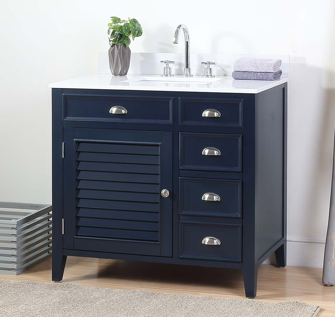"36"" Navy Blue Single Sink Quartz Top Bathroom Vanity"
