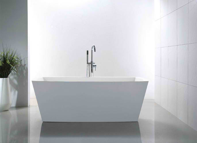 Whirlpools 32 x 67 Rectangle Acrylic Freestanding Bathtub in Glossy White
