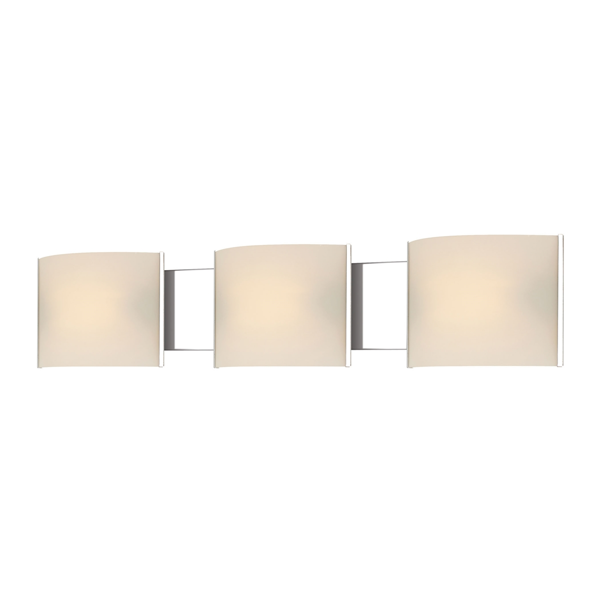 Pannelli Vanity - 3 Light with Lamps. White Opal Glass / Chrome Finish