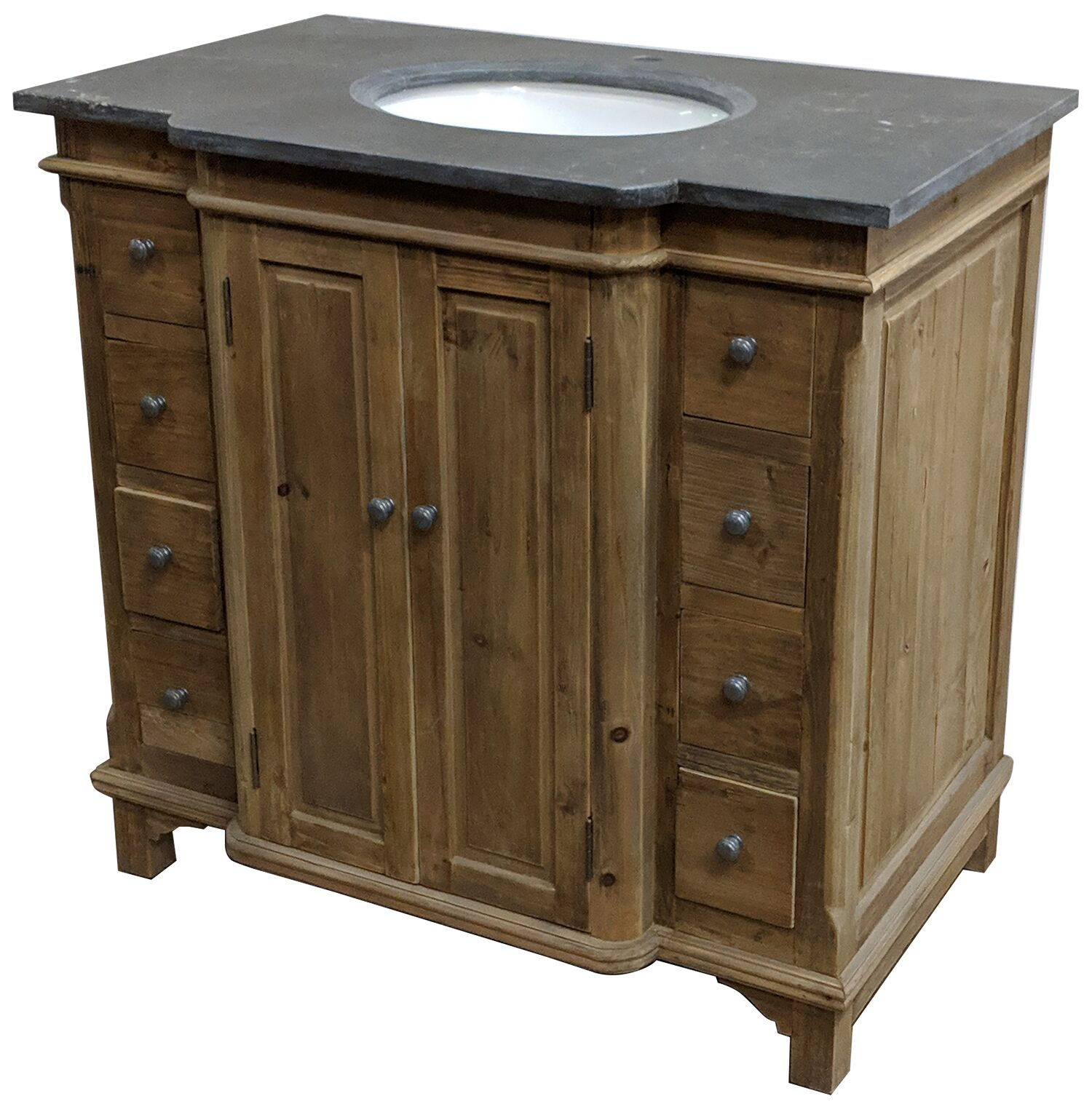 "38"" Handcrafted Reclaimed Pine Solid Wood Single Bath Vanity Natural Pine Finish"