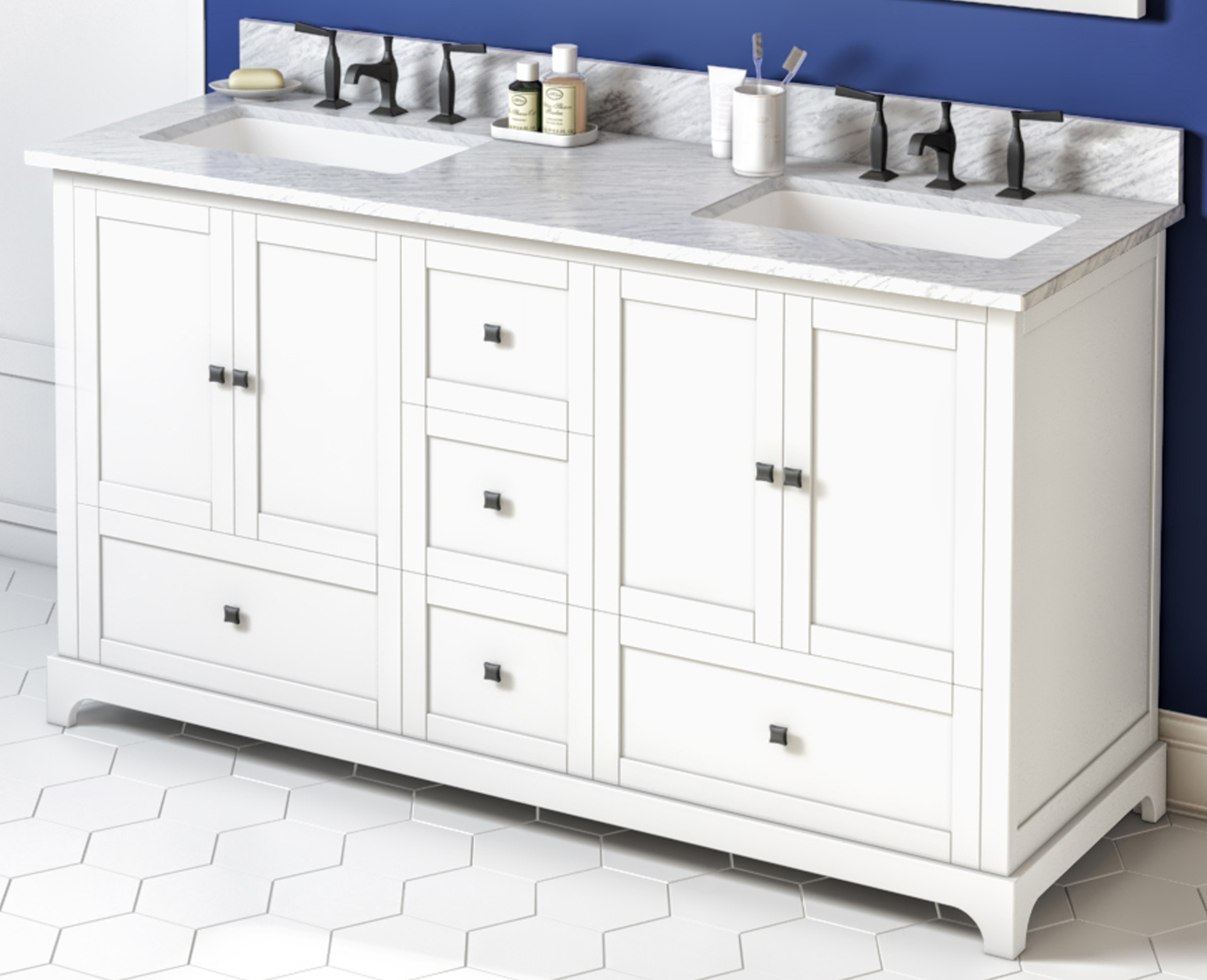 "60"" White Vanity, Double Bowl, White Carrara Marble Vanity Top, Two Undermount Rectangle Bowls"