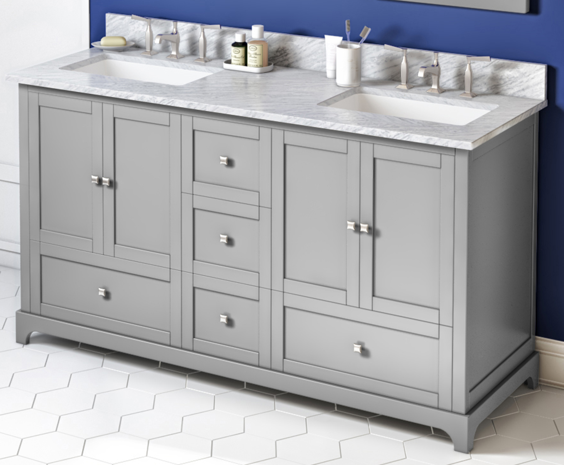 "60"" Grey Vanity, Double Bowl, White Carrara Marble Vanity Top, Two Undermount Rectangle Bowls"