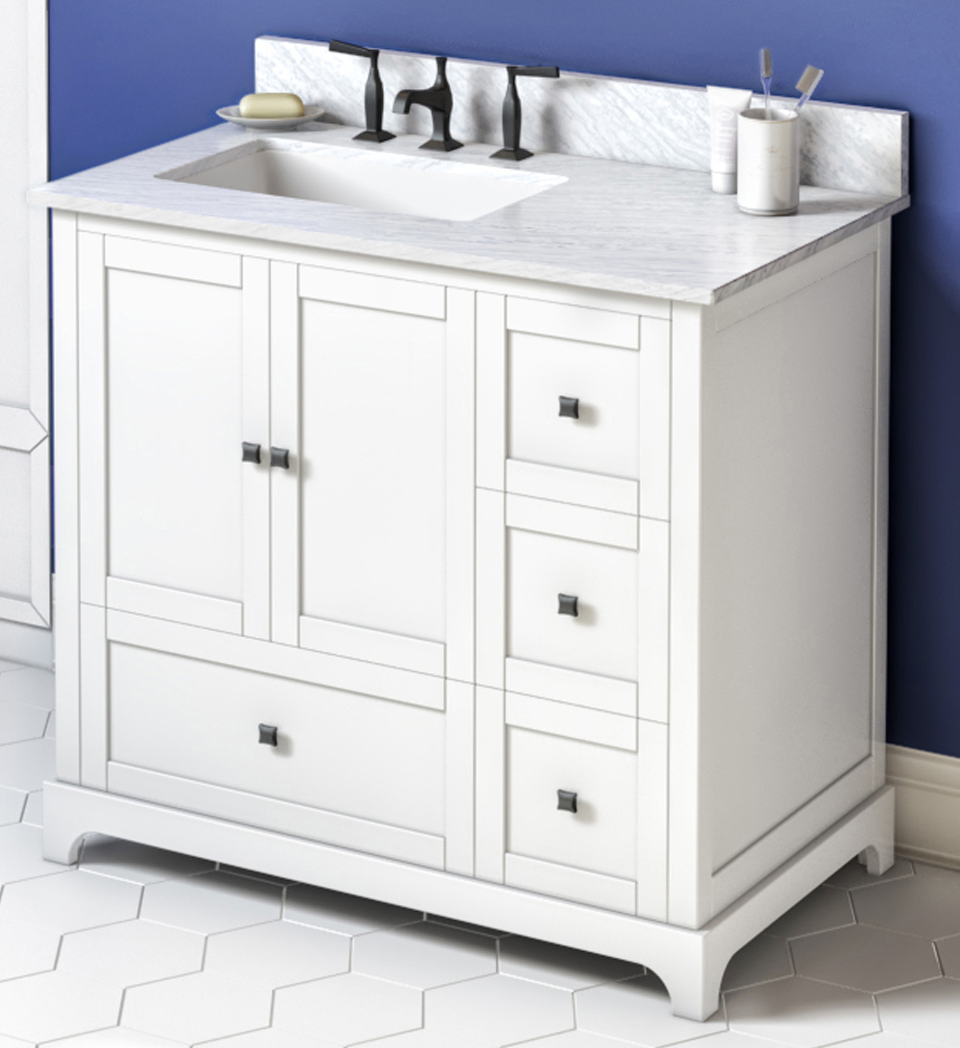 "36"" White Vanity, Left Offset, White Carrara Marble Vanity Top, Undermount Rectangle Bowl"
