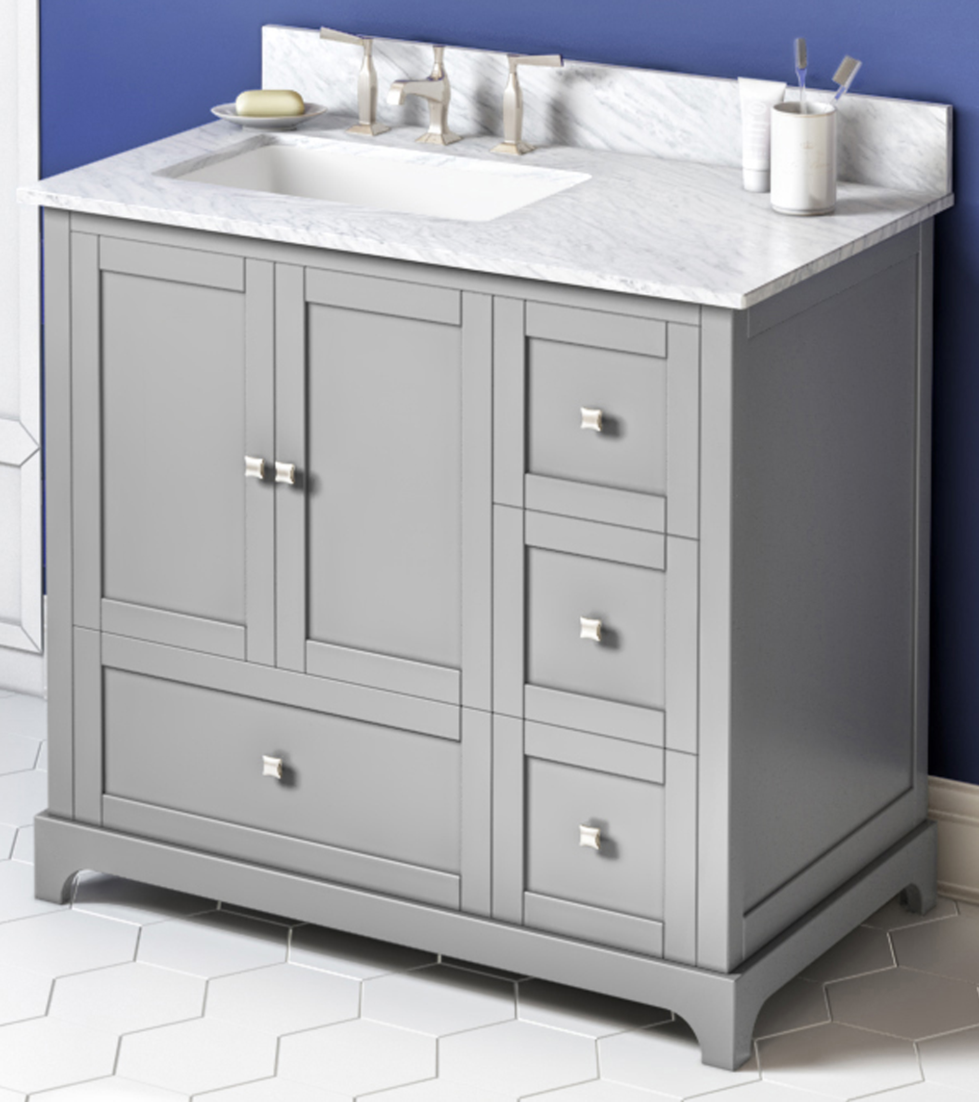 "36"" Grey Vanity, Left Offset, White Carrara Marble Vanity Top, Undermount Rectangle Bowl"