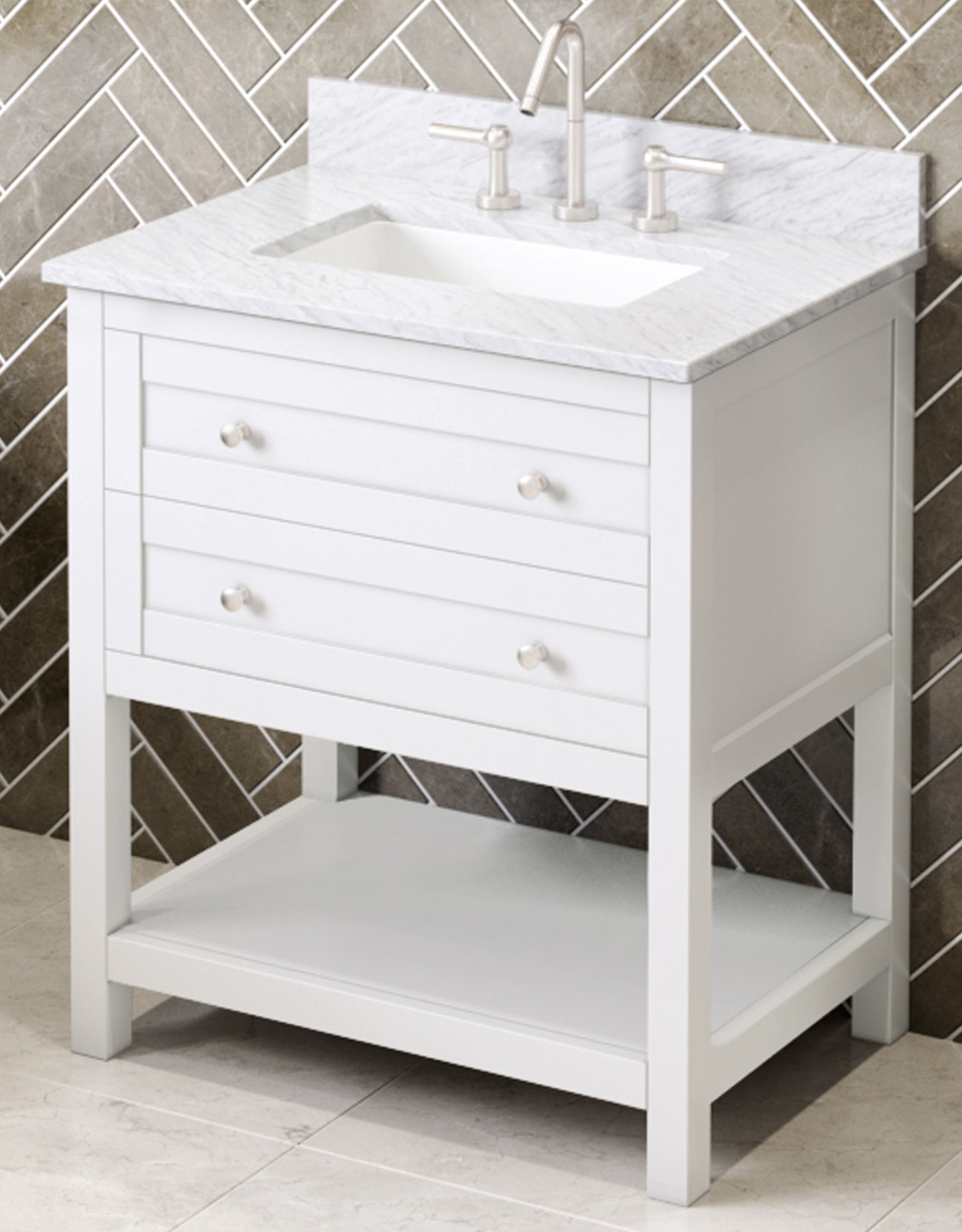 "30"" White Vanity Finish, White Carrara Marble Vanity Top, Undermount Rectangle Bowl"