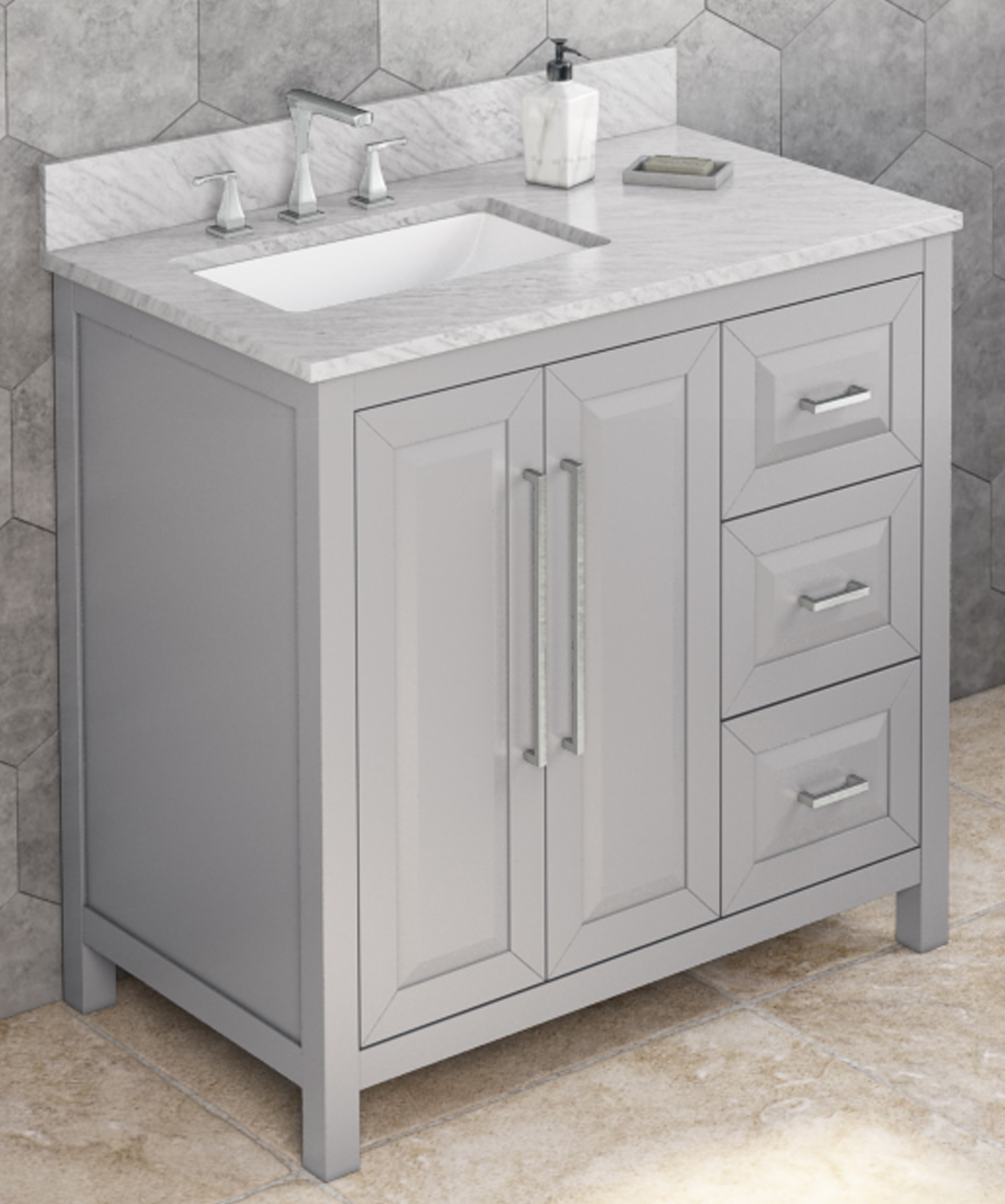 "36"" Grey Bathroom Vanity Left Offset, White Carrara Marble Vanity Top, Undermount Rectangle Bowl"
