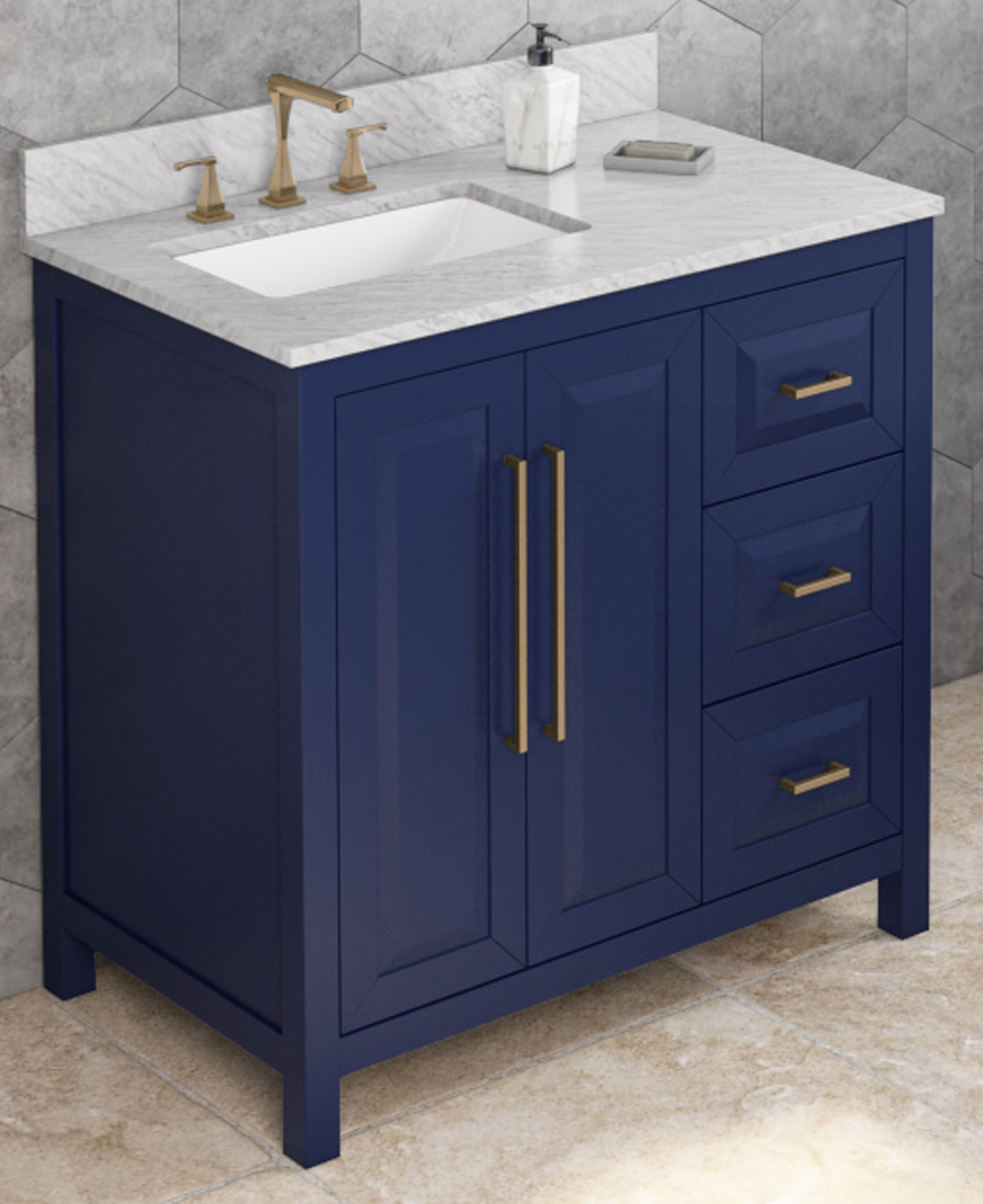 "36"" Hale Blue Bathroom Vanity Left Offset, White Carrara Marble Vanity Top, Undermount Rectangle Bowl"