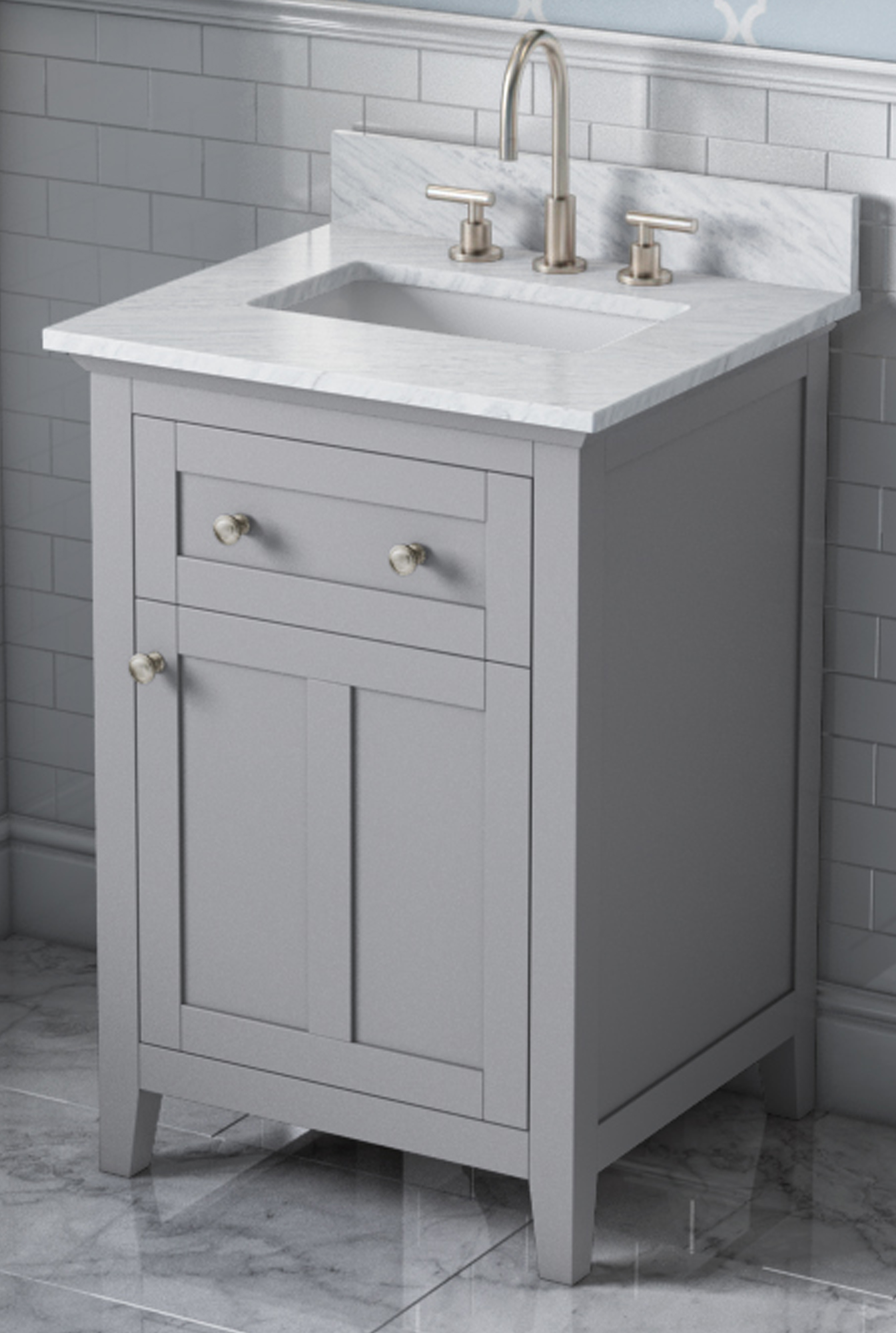 "24"" Grey Vanity, White Carrara Marble Vanity Top, Undermount Rectangle Bowl"