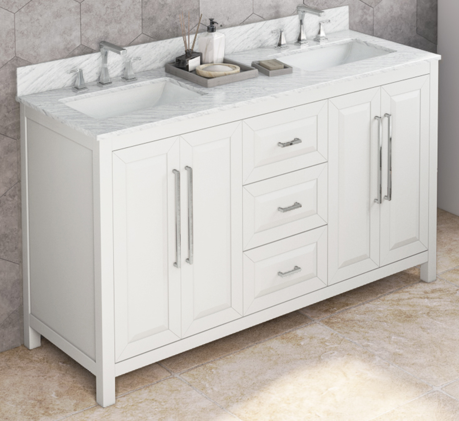 "60"" White Vanity, Double Bowl, White Carrara Marble Vanity Top, Undermount Rectangle Bowl"