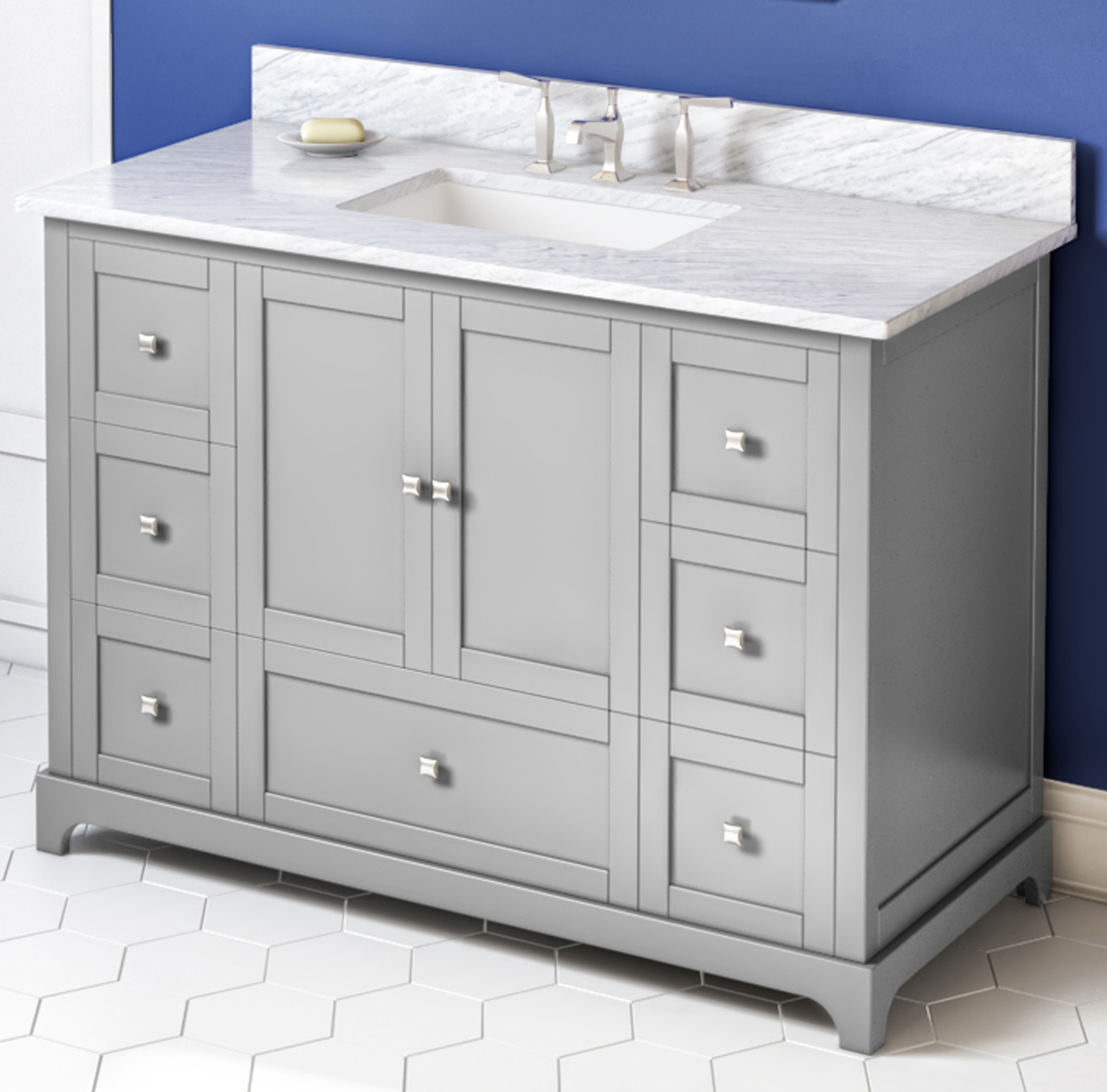"48"" Grey Vanity, White Carrara Marble Vanity Top, Undermount Rectangle Bowl"