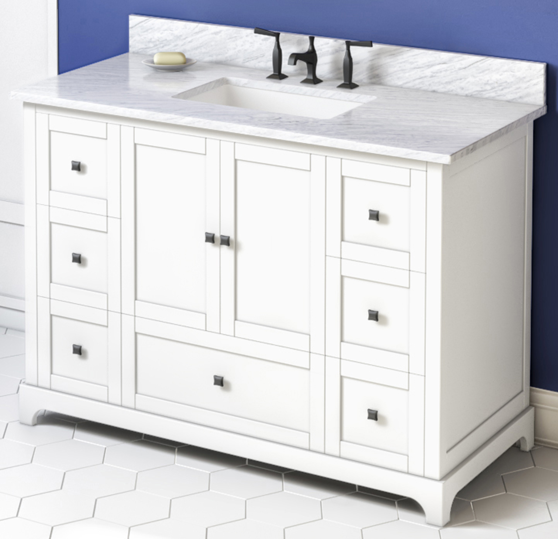 "48"" White Bathroom Vanity, White Carrara Marble Vanity Top, Undermount Rectangle Bowl"