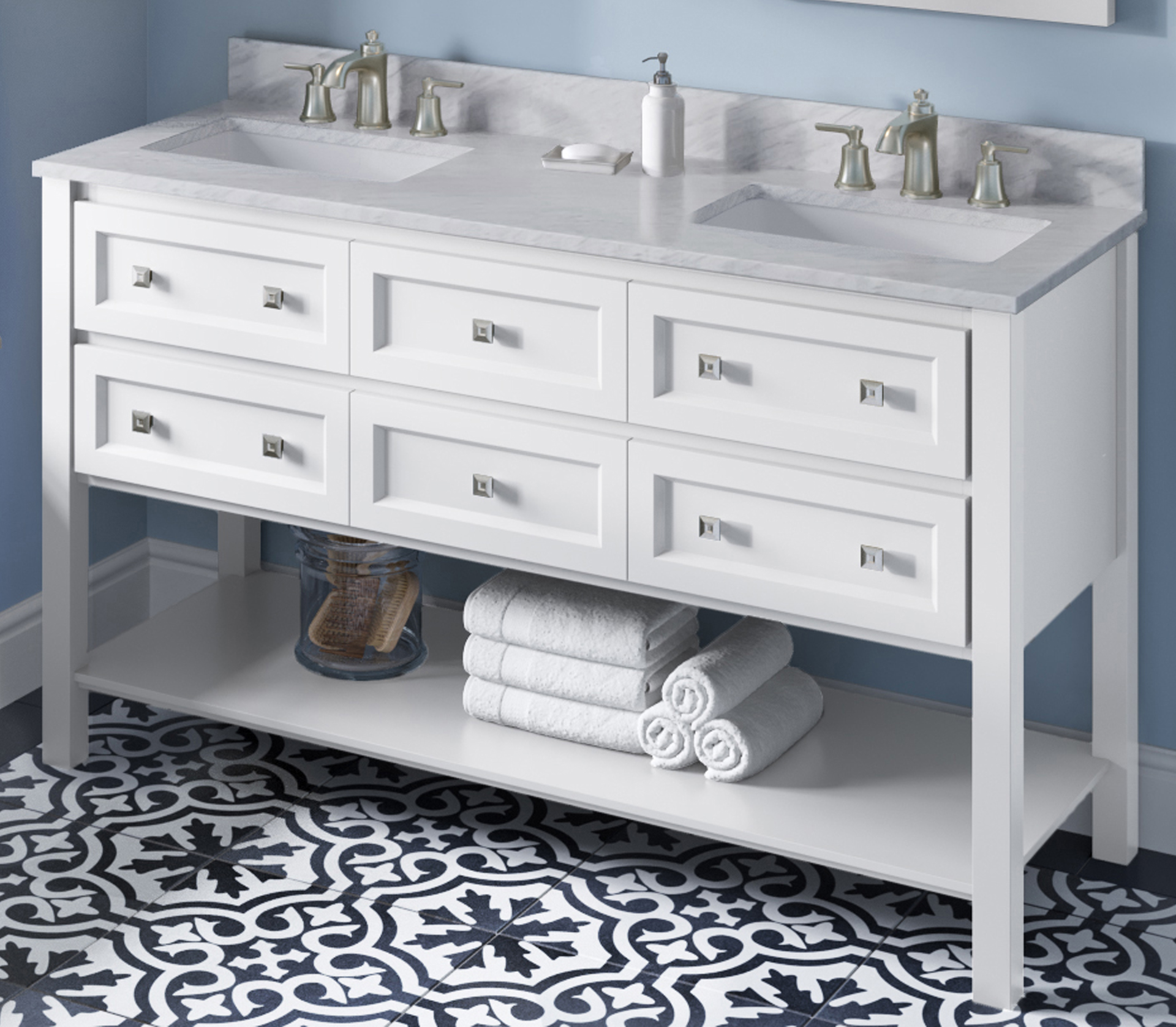 "60"" White Bathroom Vanity Finish, Double Bowl, White Carrara Marble Vanity Top, Two Undermount Rectangle Bowls"