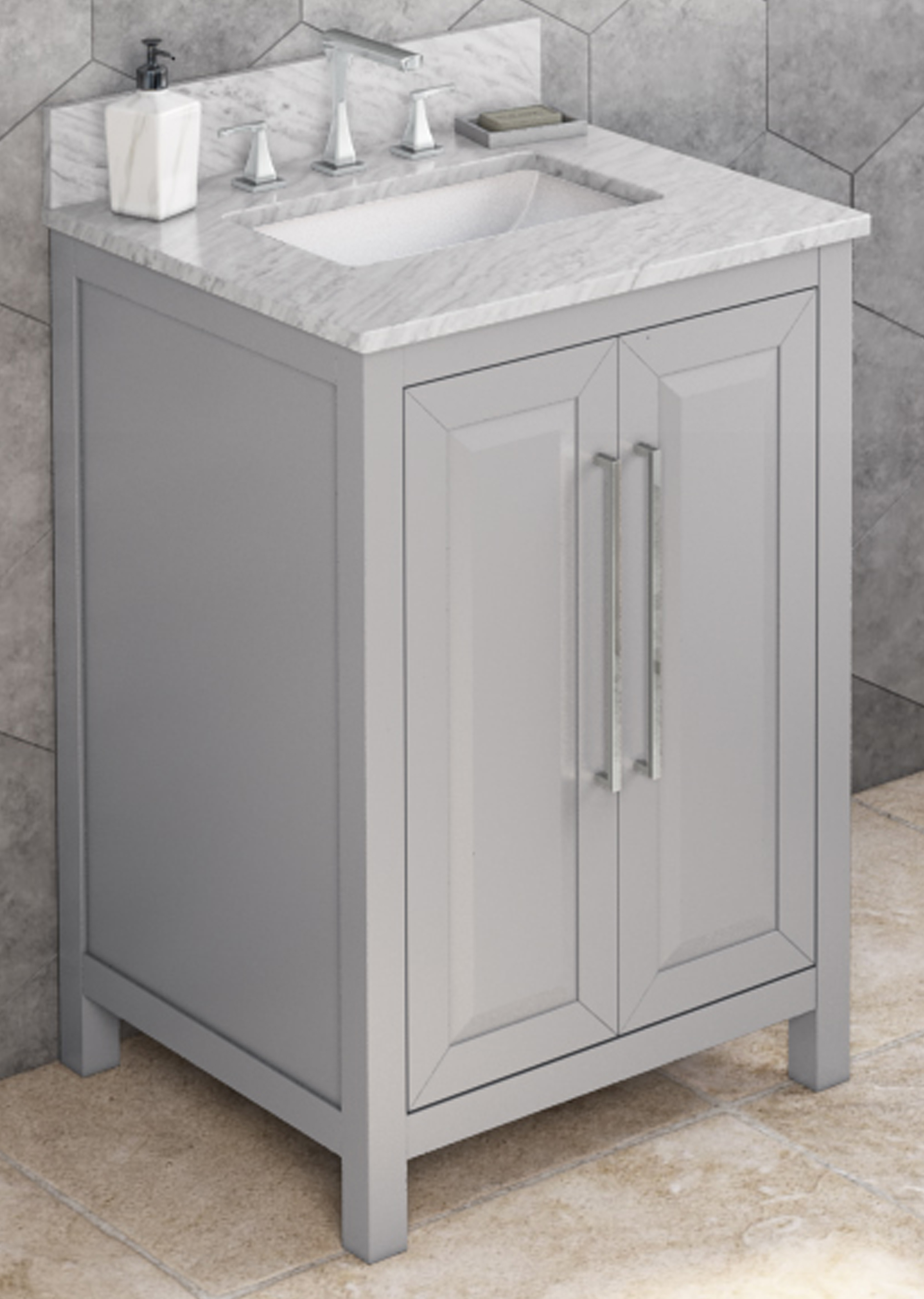 "24"" Grey Bathroom Vanity, White Carrara Marble Vanity Top, Undermount Rectangle Bowl"