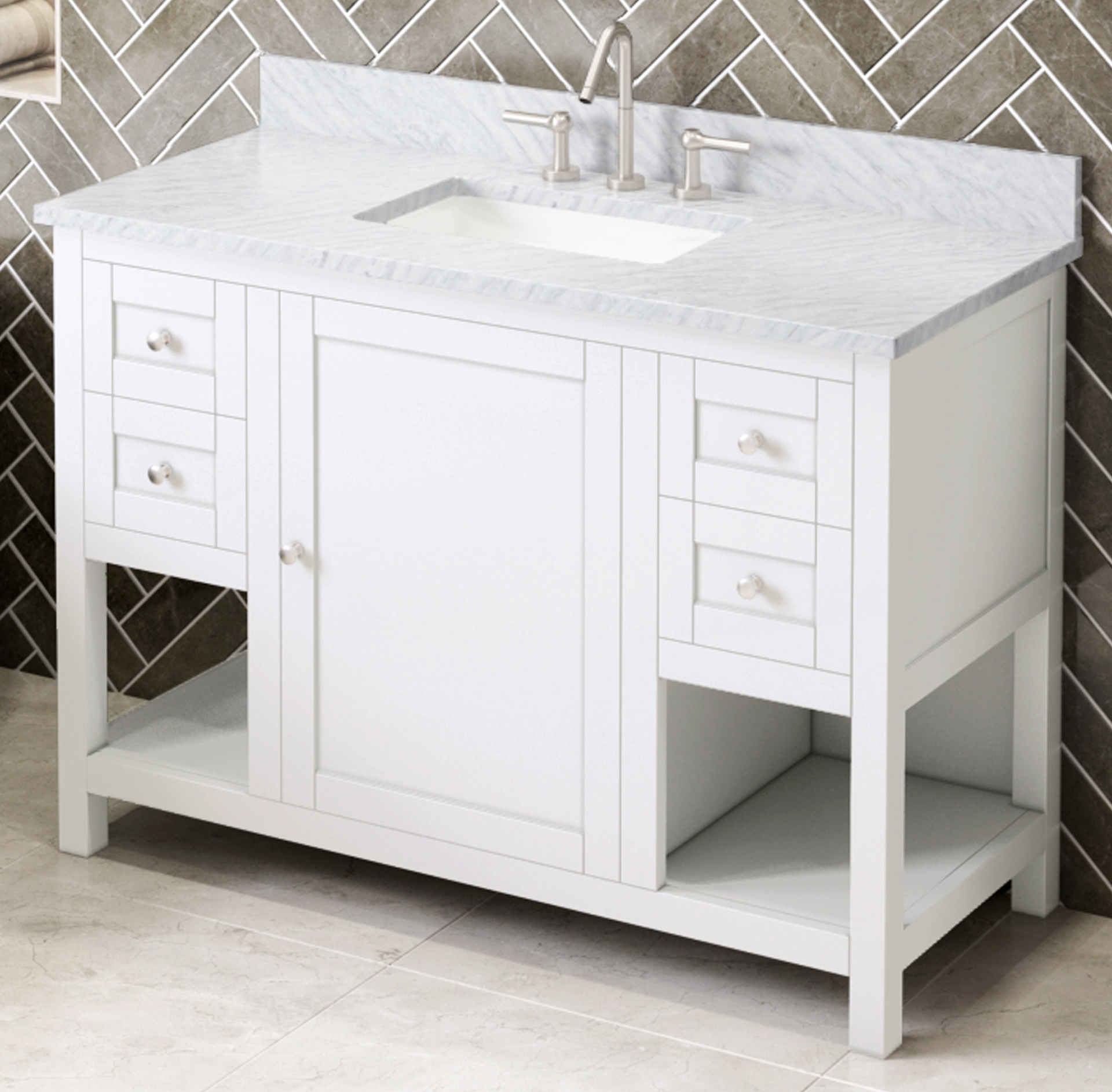 "48"" White Single Sink Vanity, White Carrara Marble Vanity Top, Undermount Rectangle Bowl"