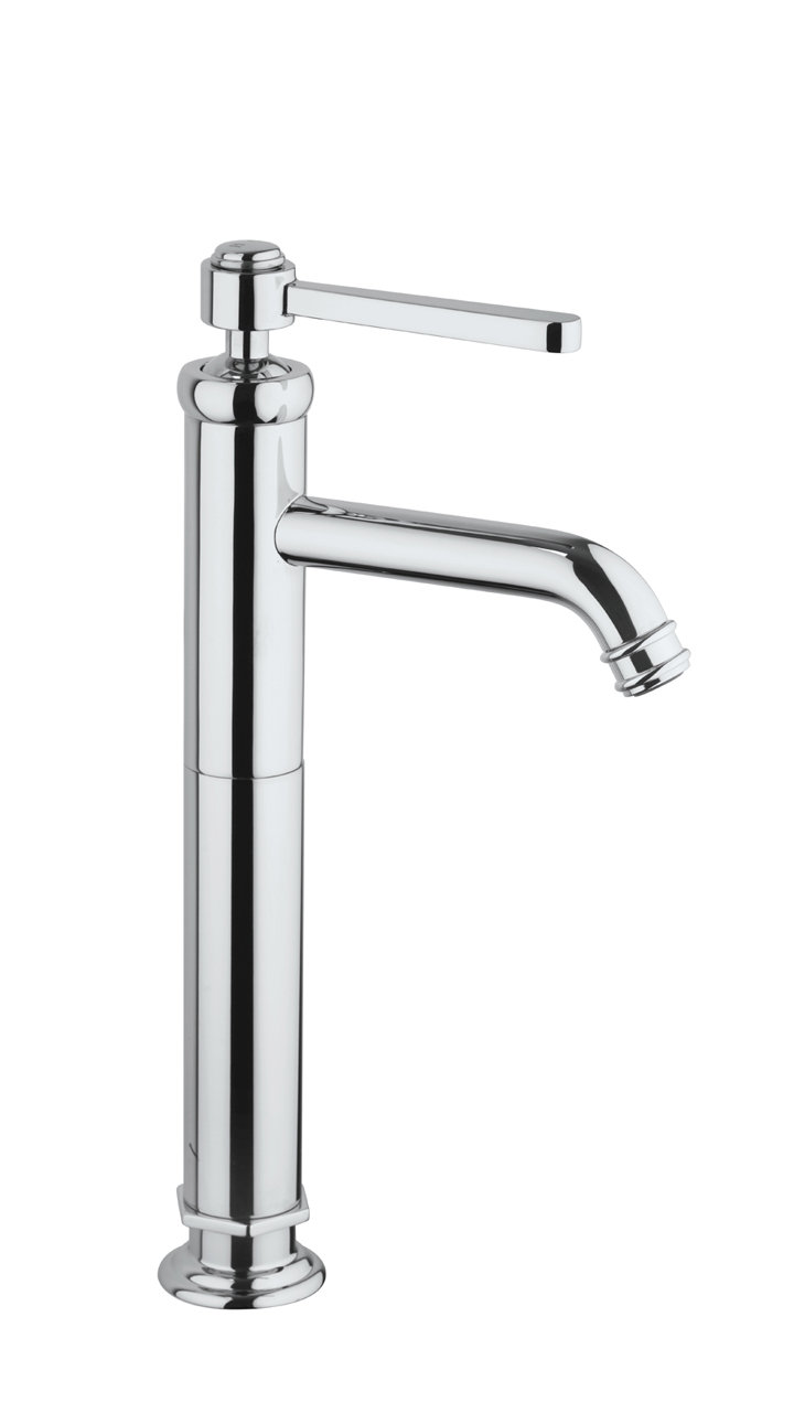 Tall Single Handle Lavatory Vessel Filler in Chrome