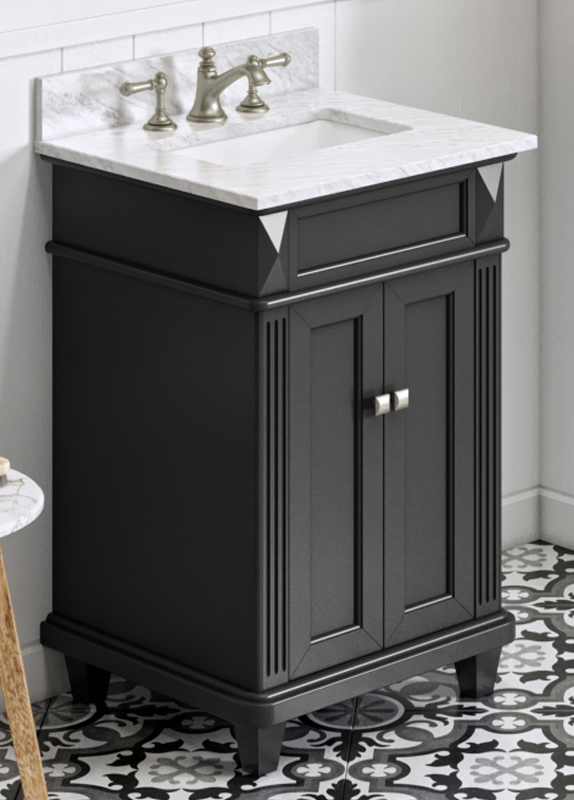 "24"" Black Vanity, White Carrara Marble Vanity Top, Undermount Rectangle Bowl"