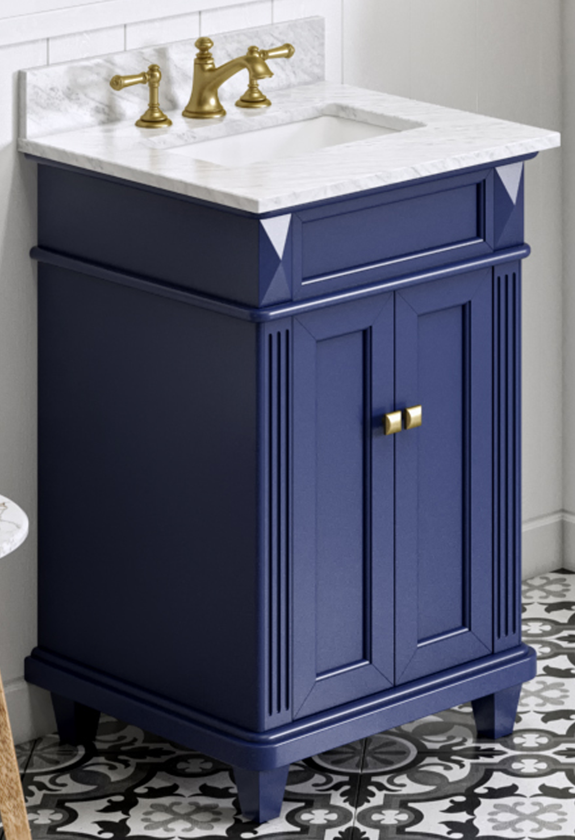 "24"" Hale Blue Single Sin Vanity, White Carrara Marble Vanity Top, Undermount Rectangle Bowl"