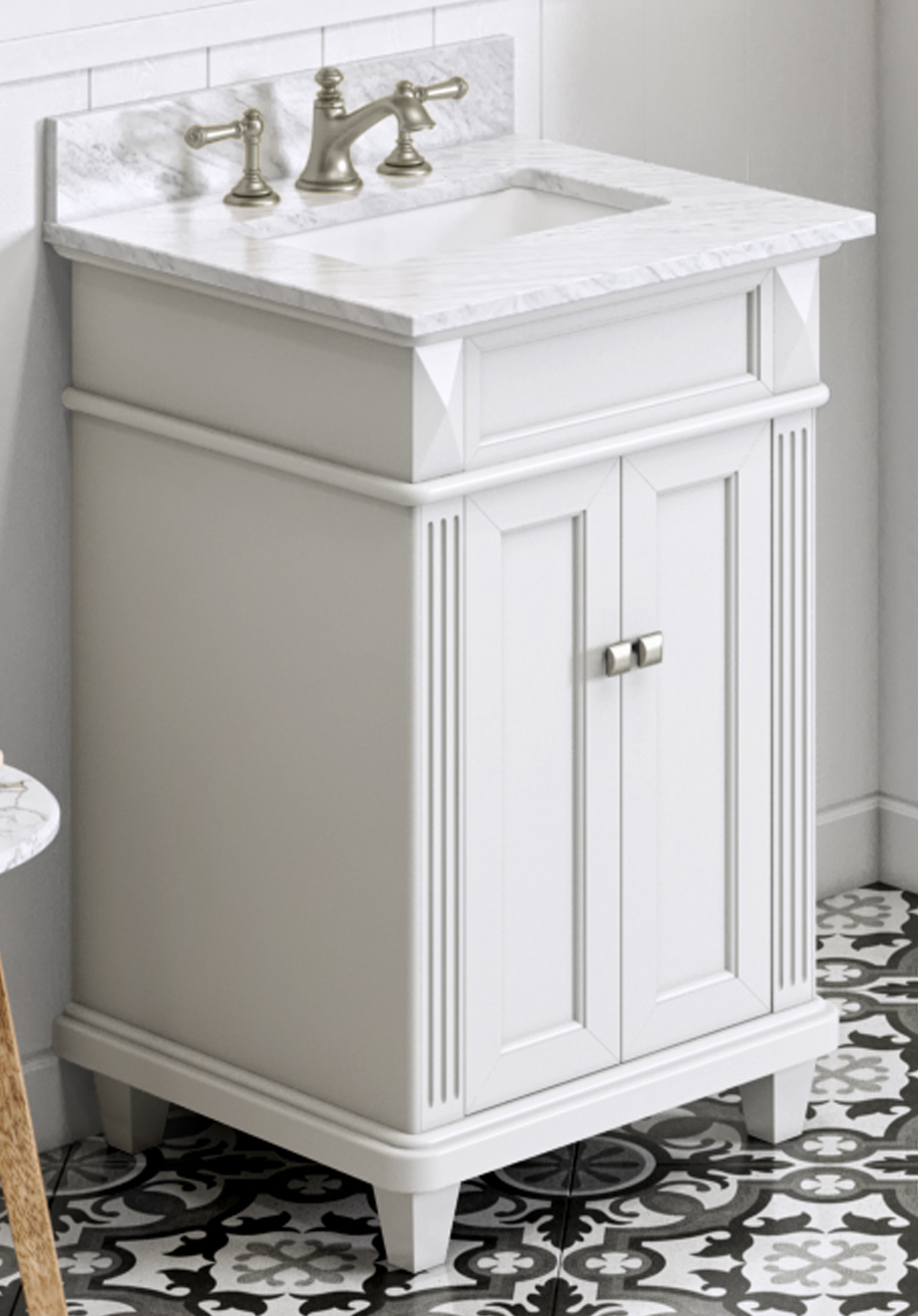 "24"" White Single Sink Vanity, White Carrara Marble Vanity Top, Undermount Rectangle Bowl"