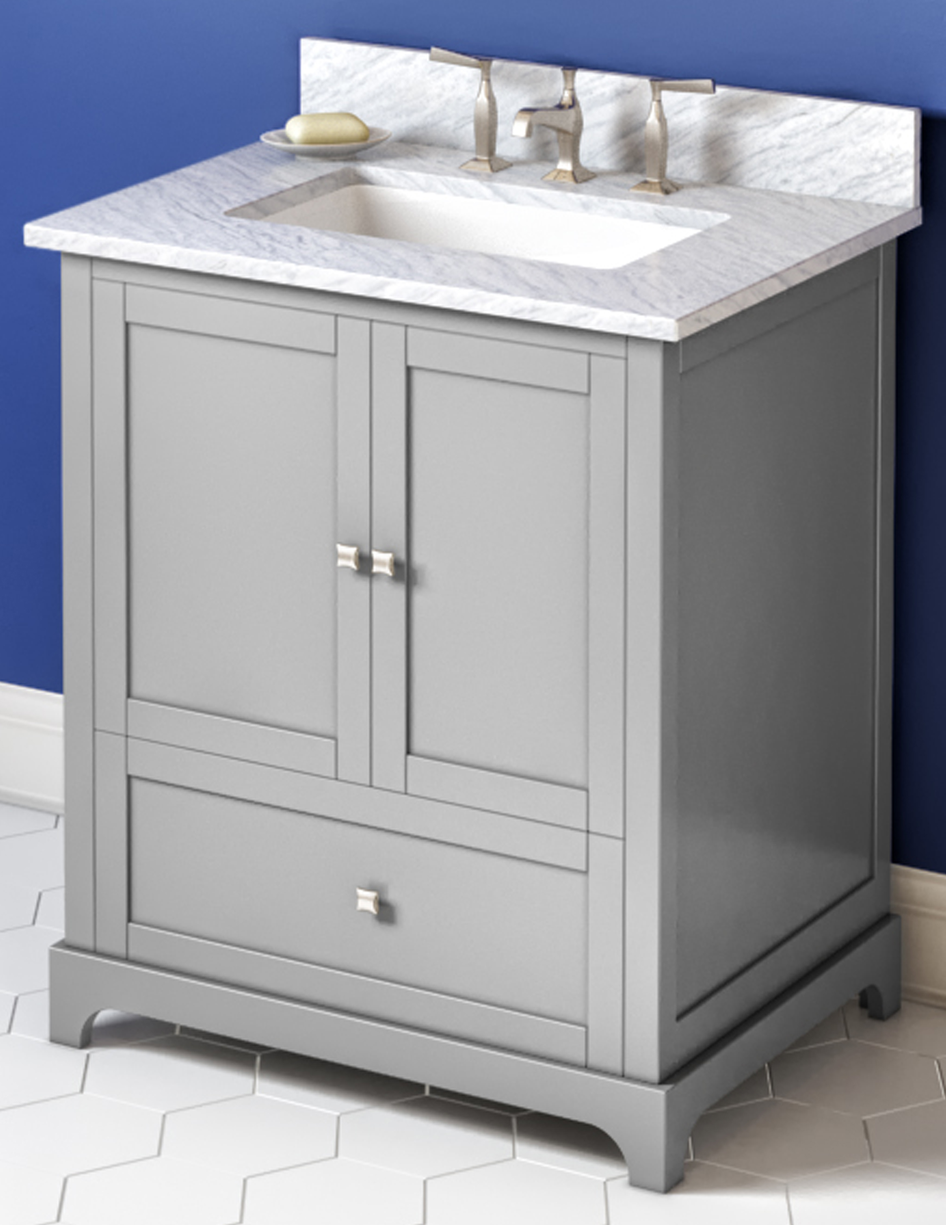 "30"" Grey Single Sink Bathroom Vanity, White Carrara Marble Vanity Top, Undermount Rectangle Bowl"