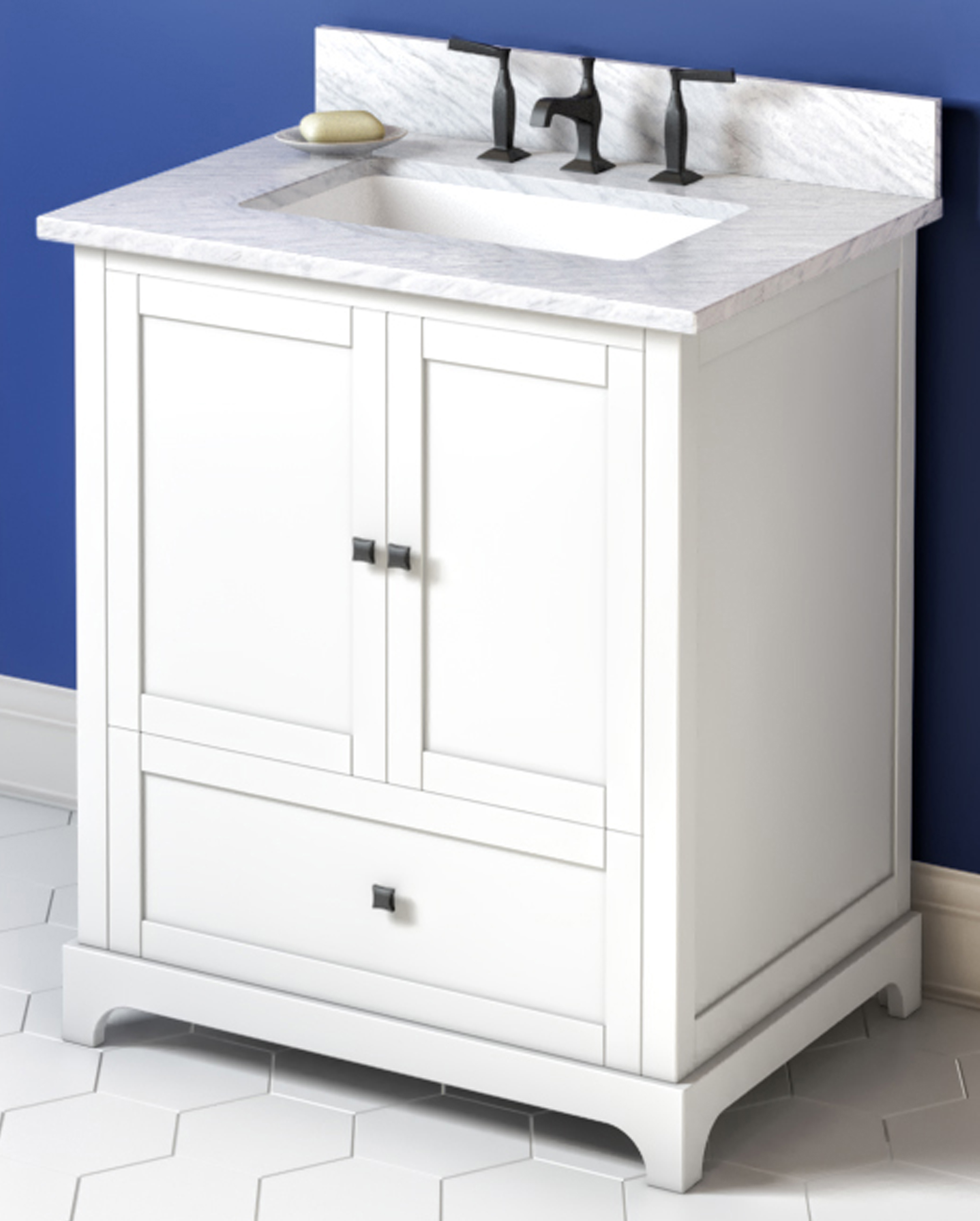 "30"" White Single Sink Bathroom Vanity, White Carrara Marble Vanity Top, Undermount Rectangle Bowl"