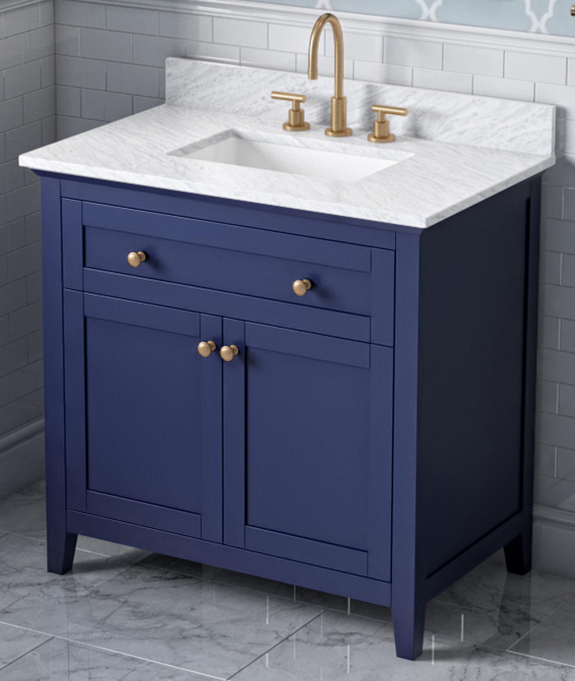 "30"" Hale Blue Single Sink Bathroom Vanity, White Carrara Marble Vanity Top, Undermount Rectangle Bowl"