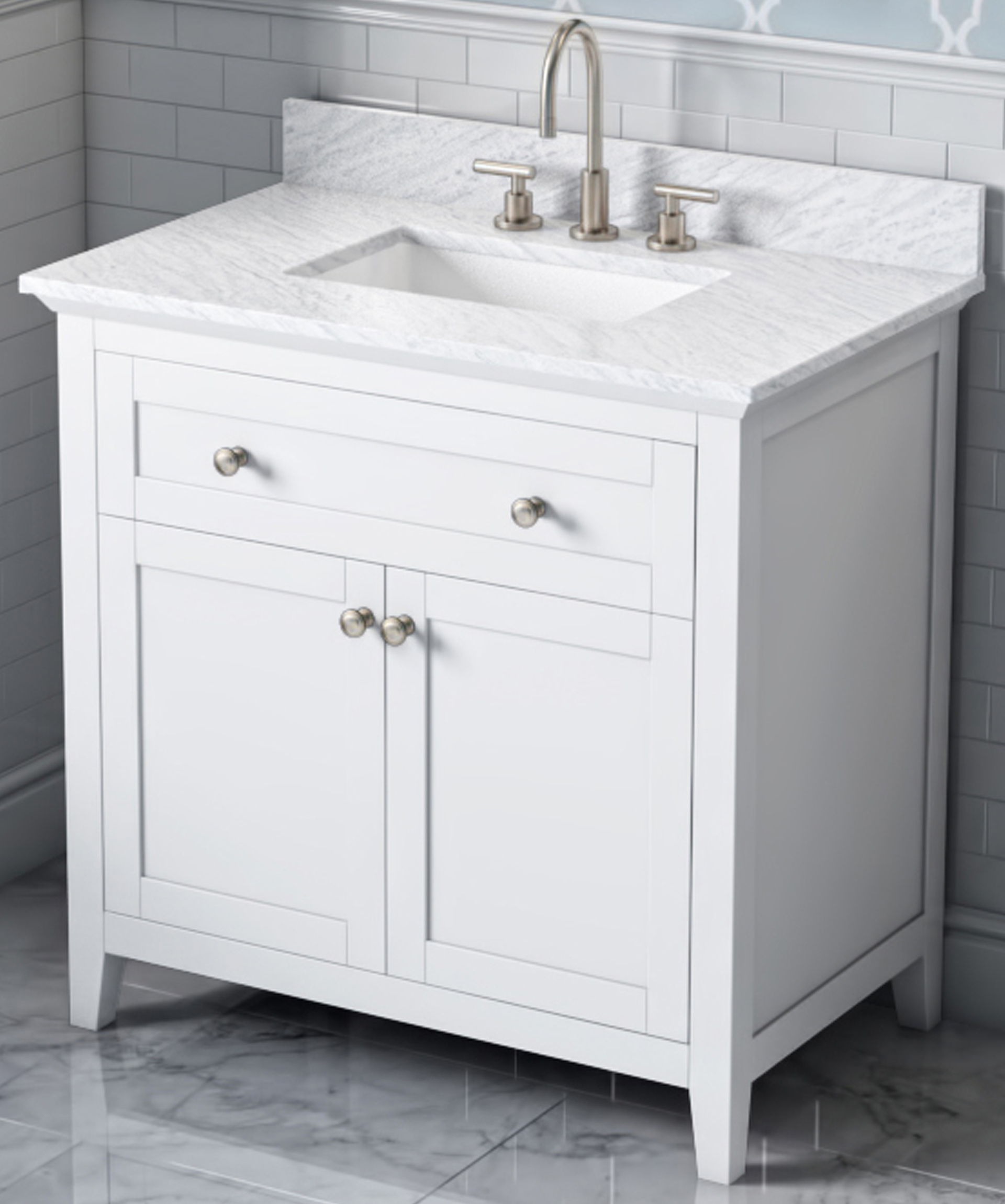 "30"" Single Sink Bathroom Vanity White Finish, White Carrara Marble Vanity Top, Undermount Rectangle Bowl"