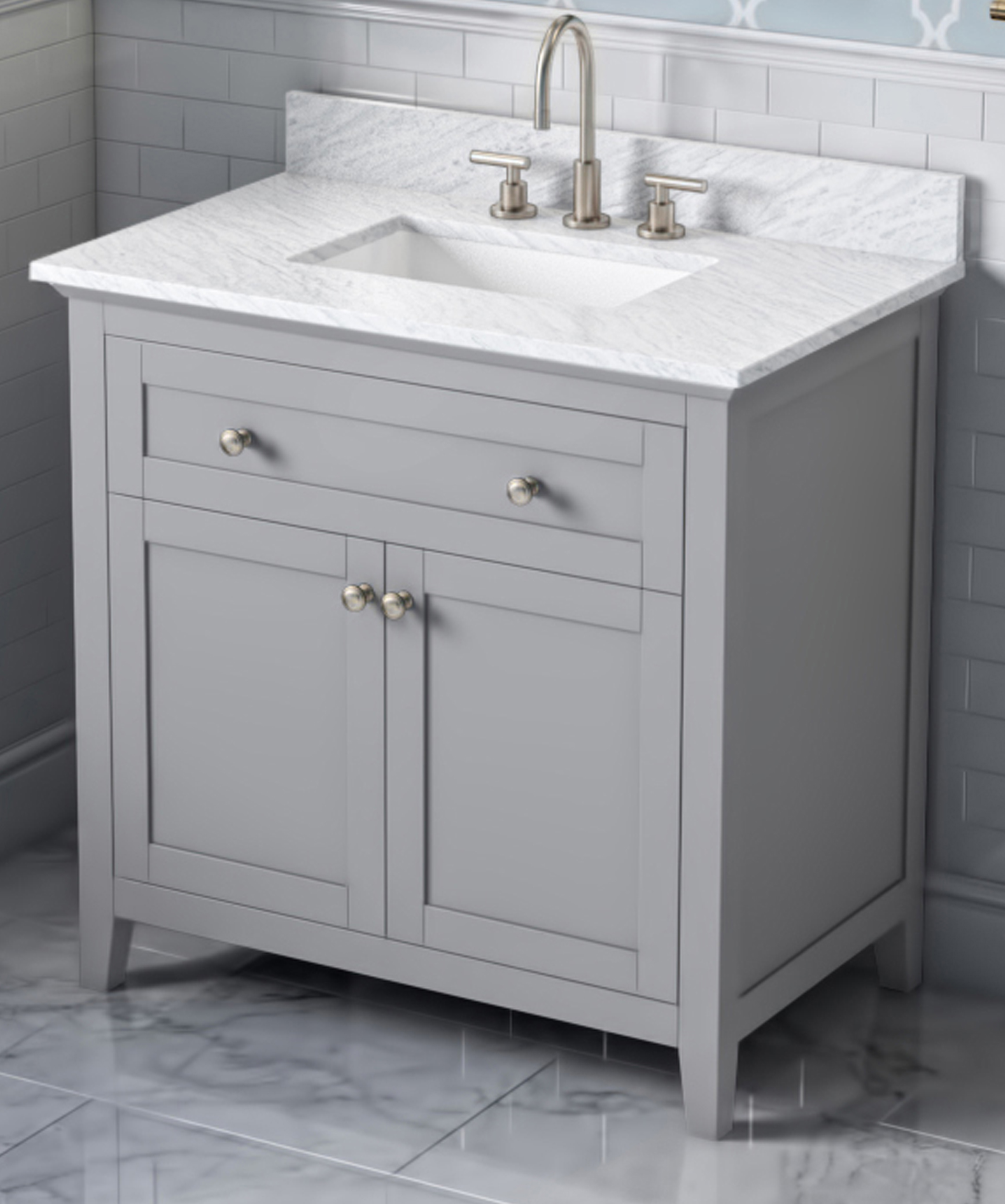 "30"" Single Sink Bathroom Vanity Grey Finish, White Carrara Marble Vanity Top, Undermount Rectangle Bowl"