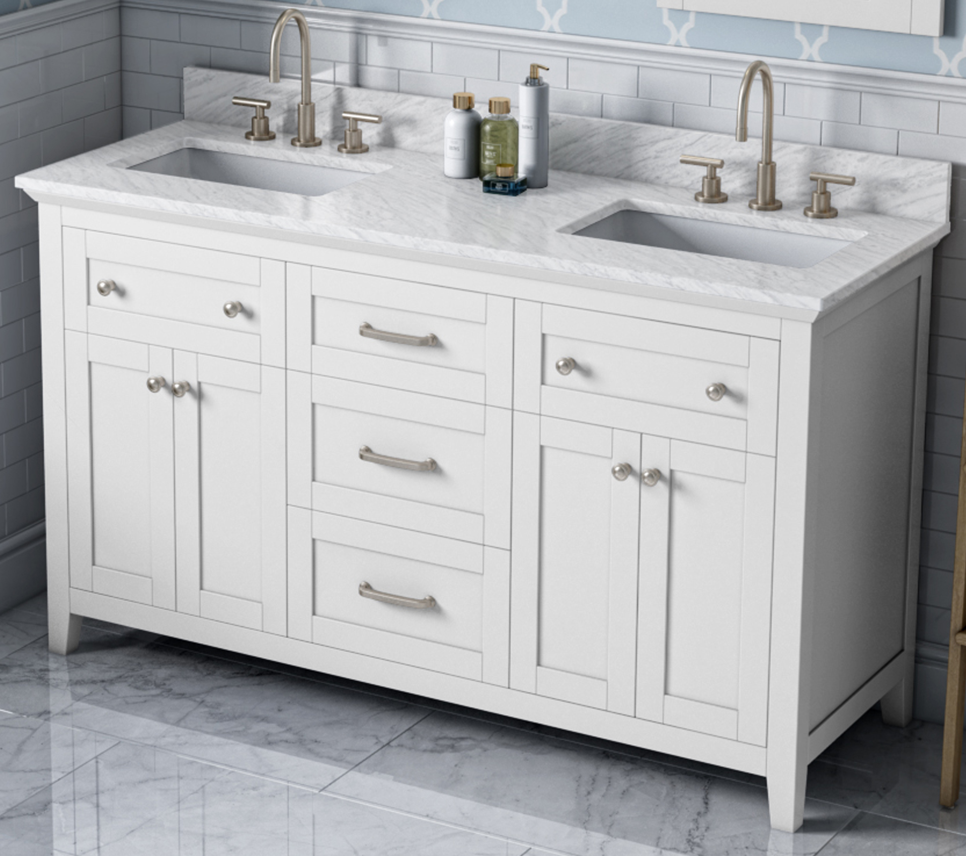 "60"" White Double Bowl Bathroom Vanity, White Carrara Marble Vanity Top, Two Undermount Rectangle Bowls"