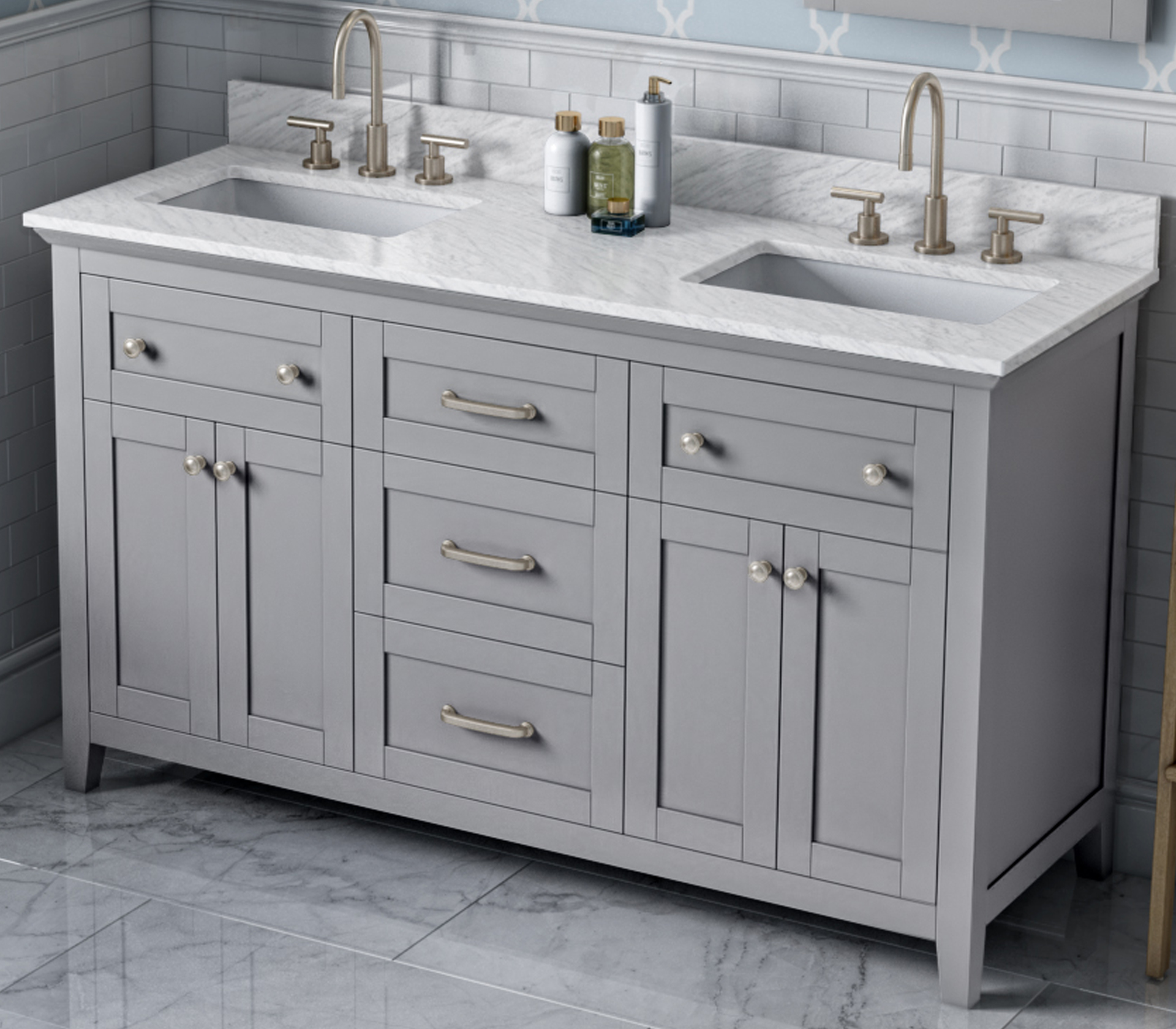 "60"" Grey Double Bowl Bathroom Vanity, White Carrara Marble Vanity Top, Two Undermount Rectangle Bowls"