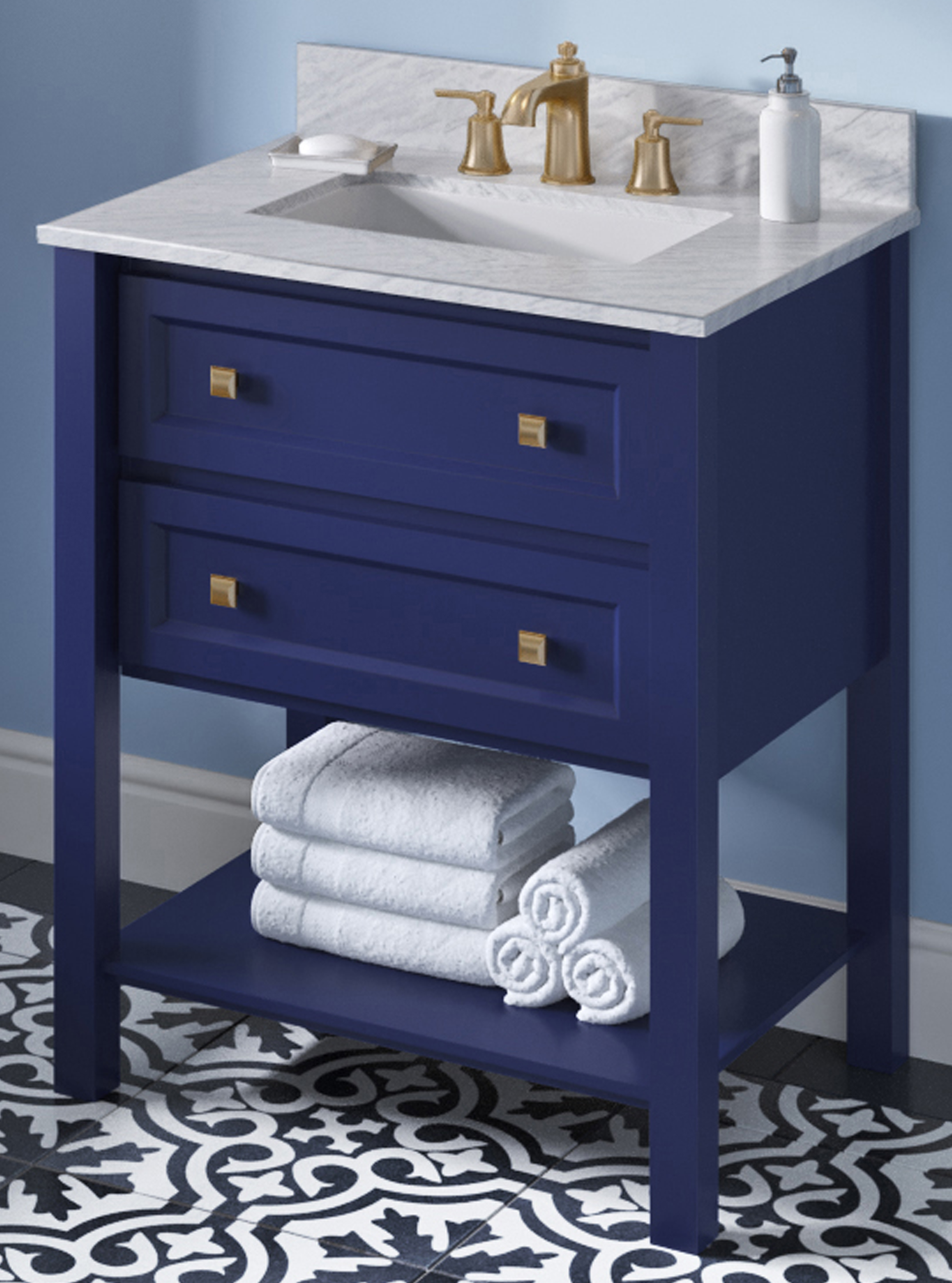 "30"" Single Sink Hale Blue Vanity, White Carrara Marble Vanity Top, Undermount Rectangle Bowl"