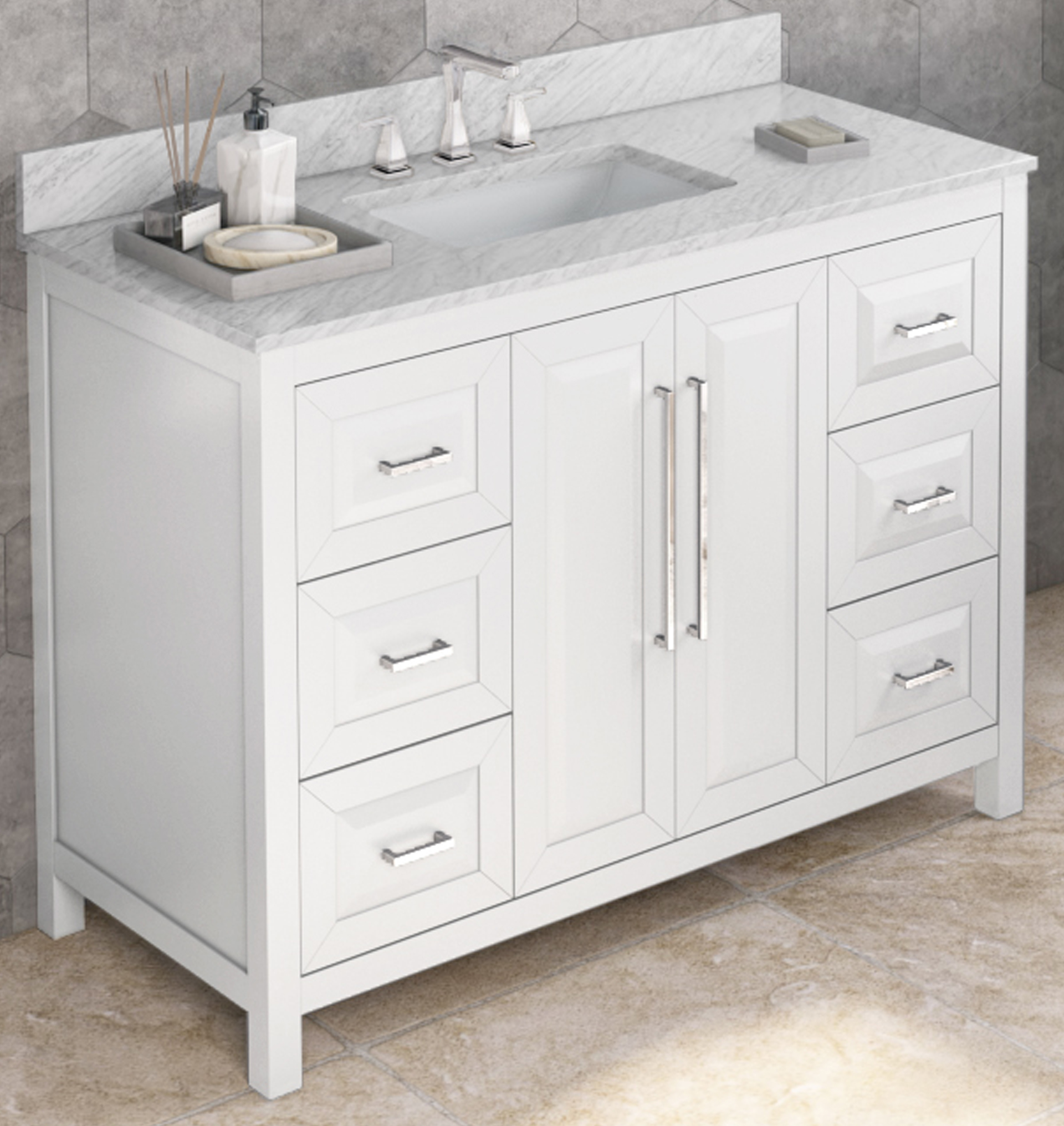 "48"" Single Sink White Vanity, White Carrara Marble Vanity Top, Undermount Rectangle Bowl"
