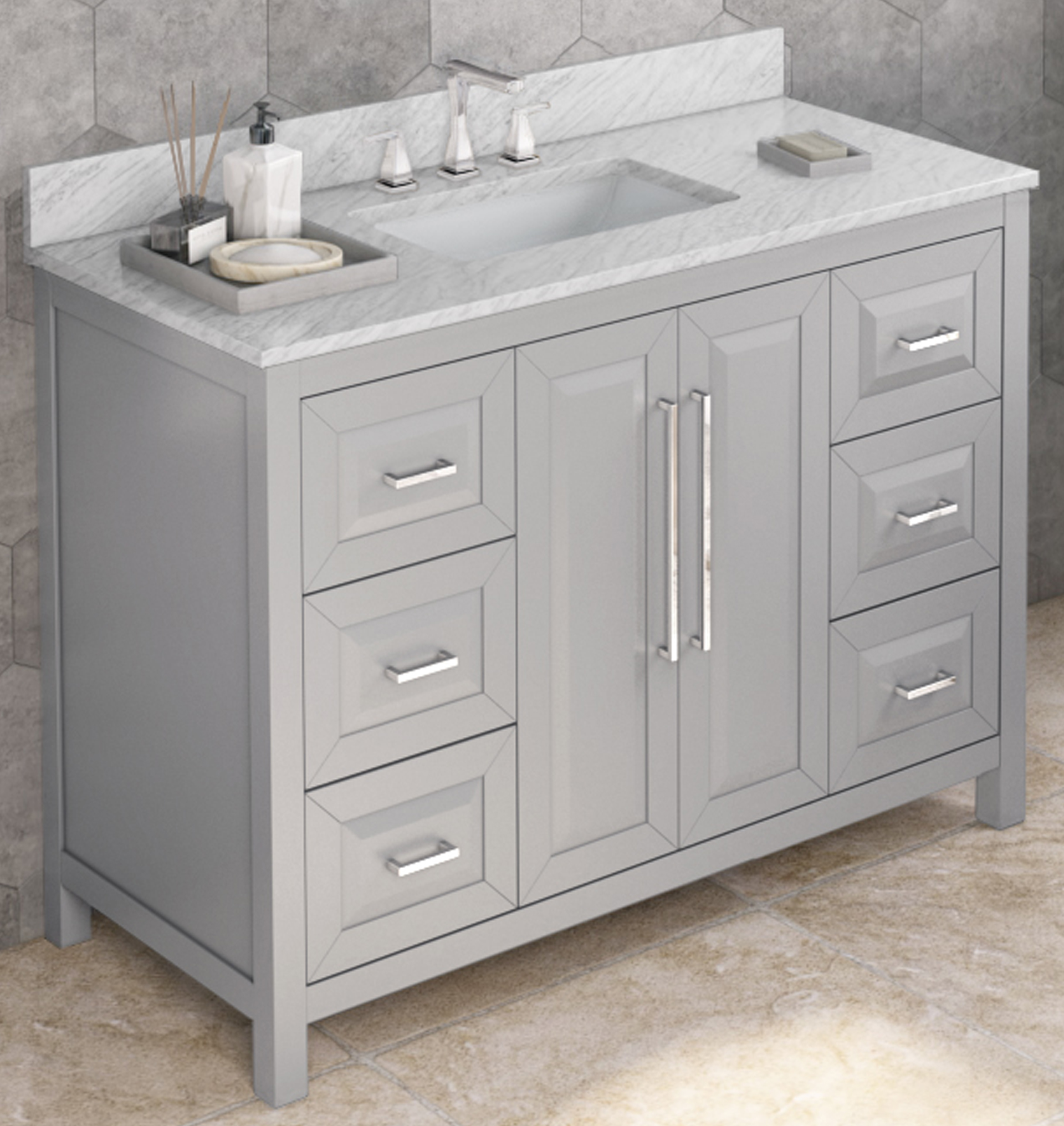 "48"" Single Sink Grey Vanity, White Carrara Marble Vanity Top, Undermount Rectangle Bowl"