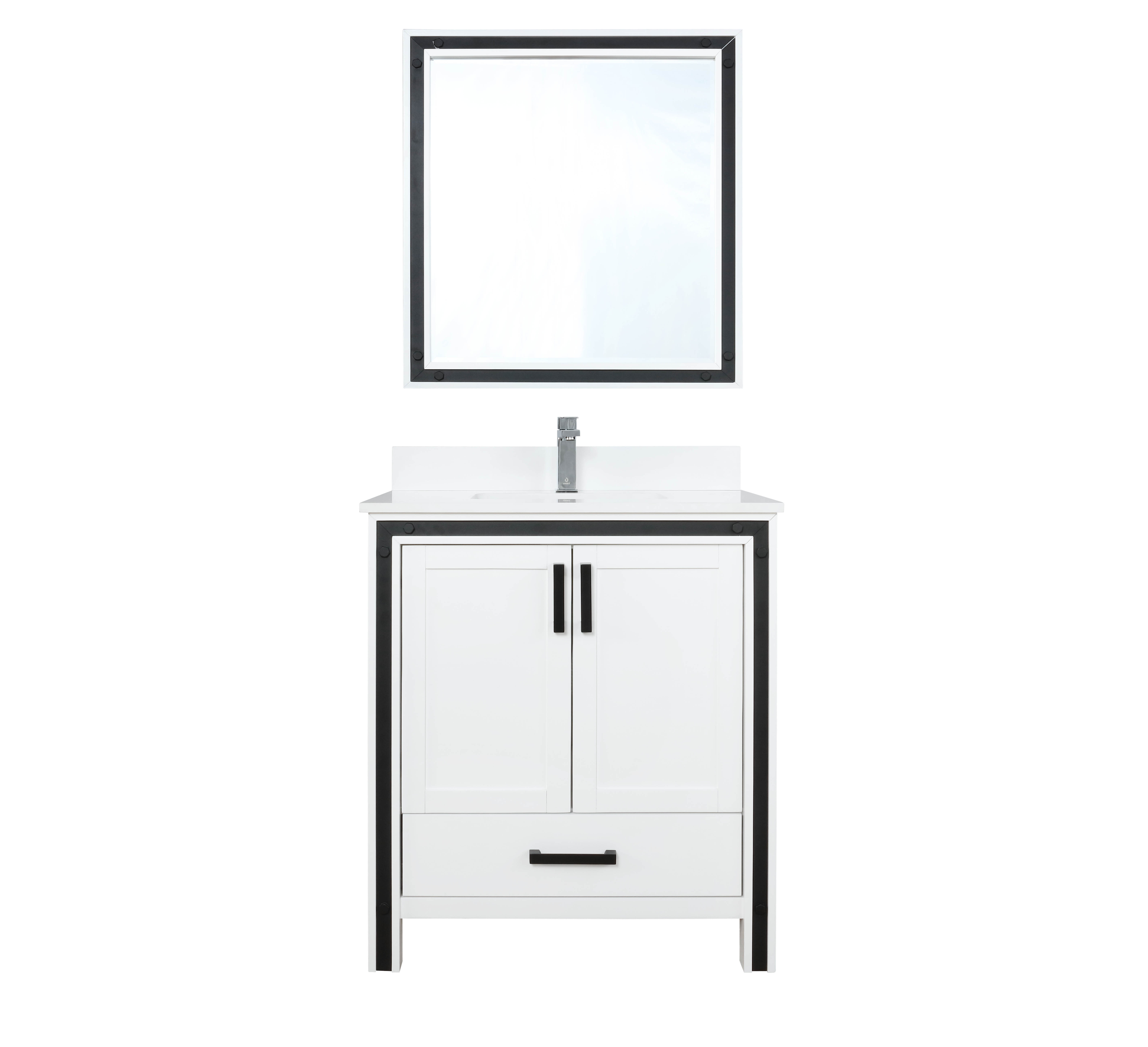 """30"""" White Vanity Cabinet Only with Top and Mirror Option"""