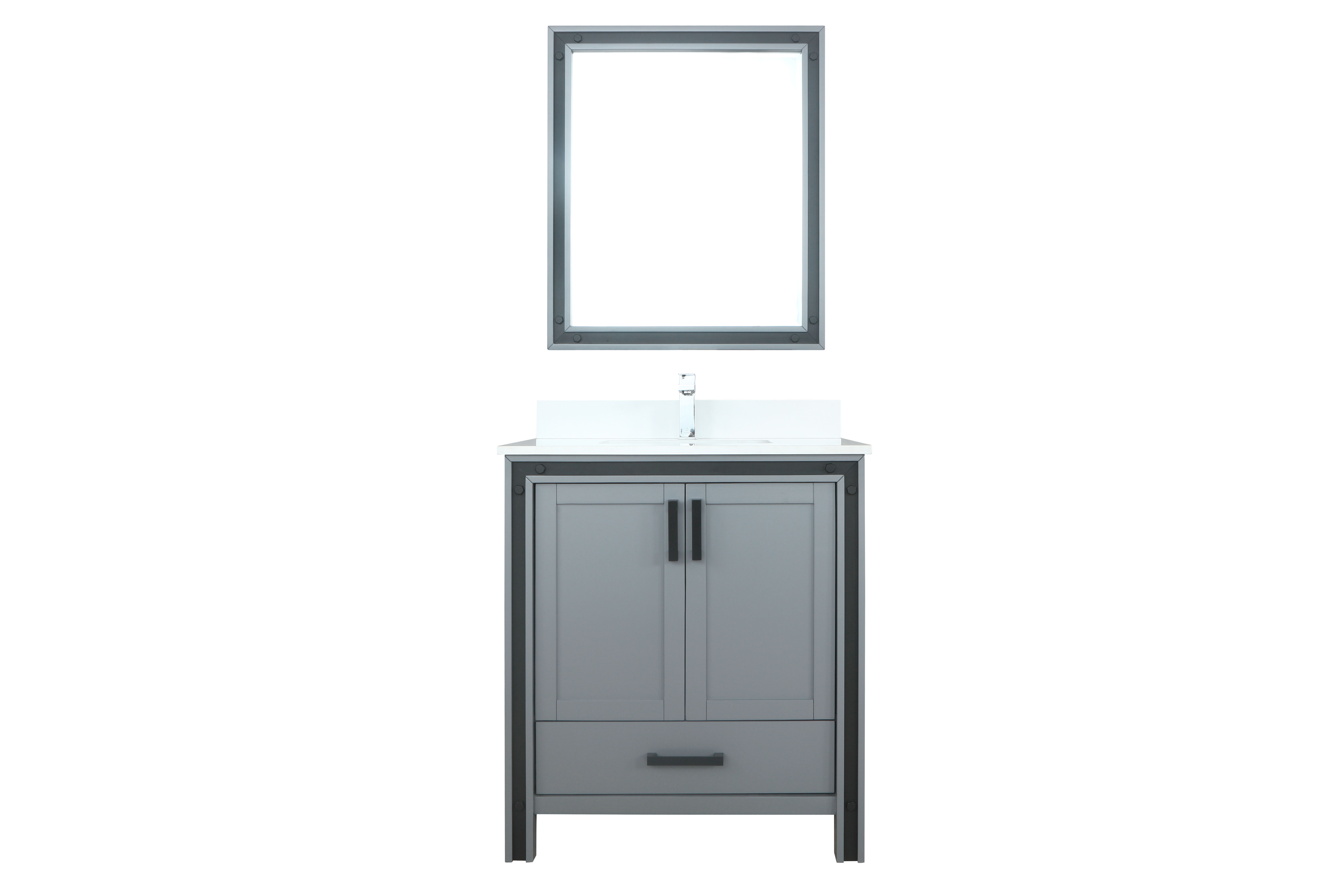 """30"""" Dark Grey Bathroom Vanity Cabinet Only with Countertop and Mirror Options"""